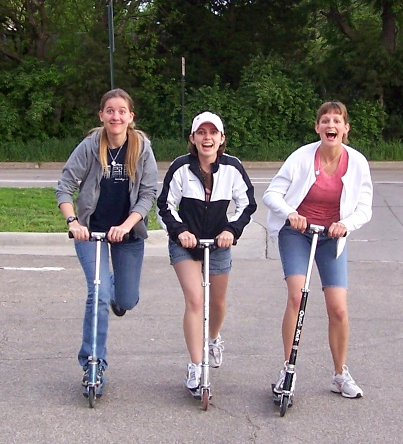 Physical activity with friends - scootering with college roommates. Oh, how did you ever put up with my silliness? Melanie, Meredith, and me, circa 2008
