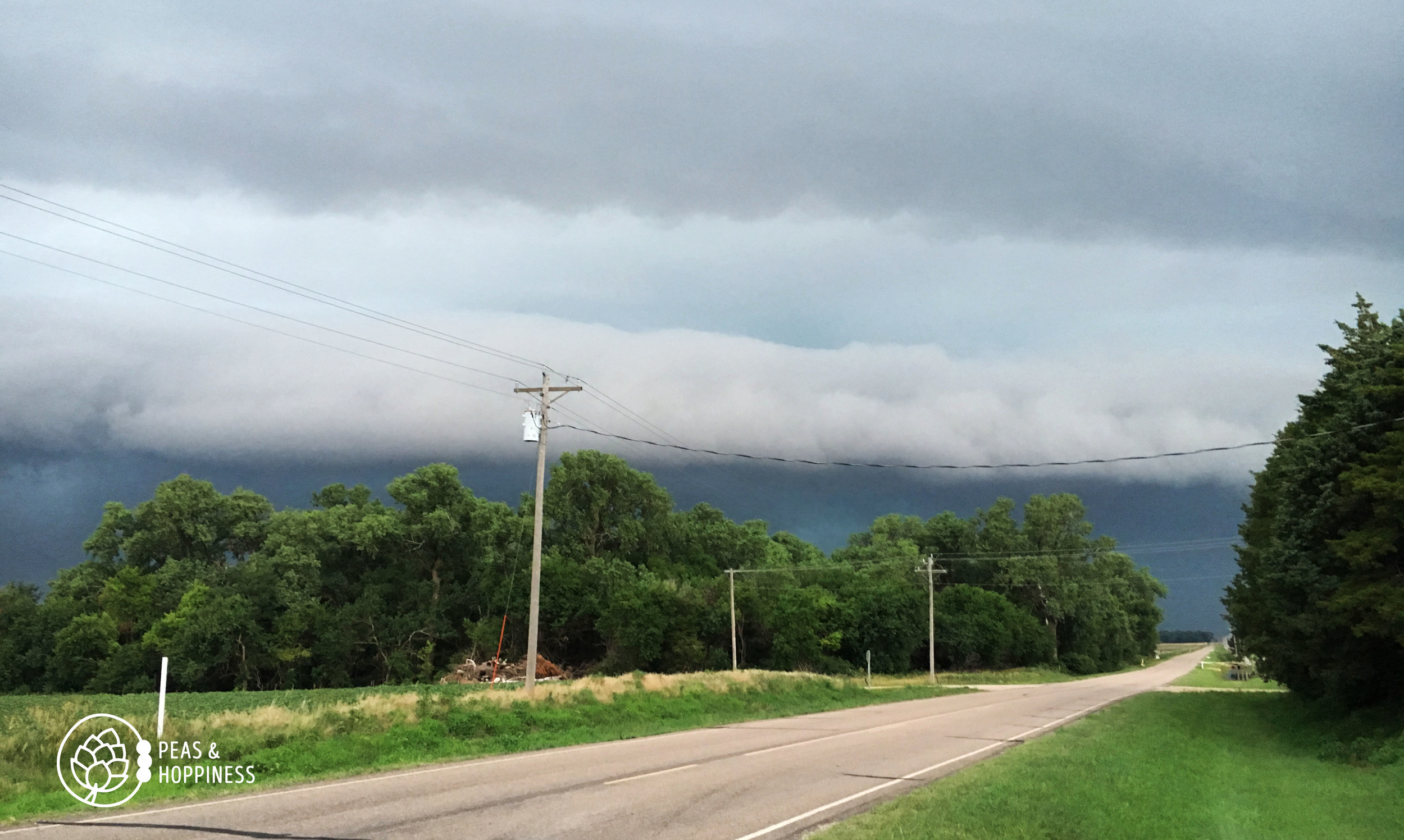 Storm clouds rolling in; the tornado's path was to the north and so missed us. Whew!