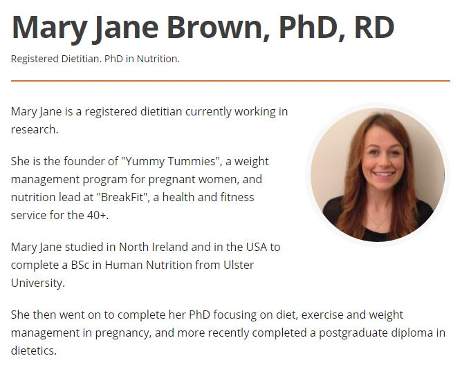 Website 1: Articles are written by several different authors, and they each have a description of their degree, the university they attended, as well as a brief explanation of their credentials. I specifically looked up the author's credentials for the article I chose in this example: she's a Registered Dietitian (heart eyes) with PhD in Nutrition from a school in Ireland.