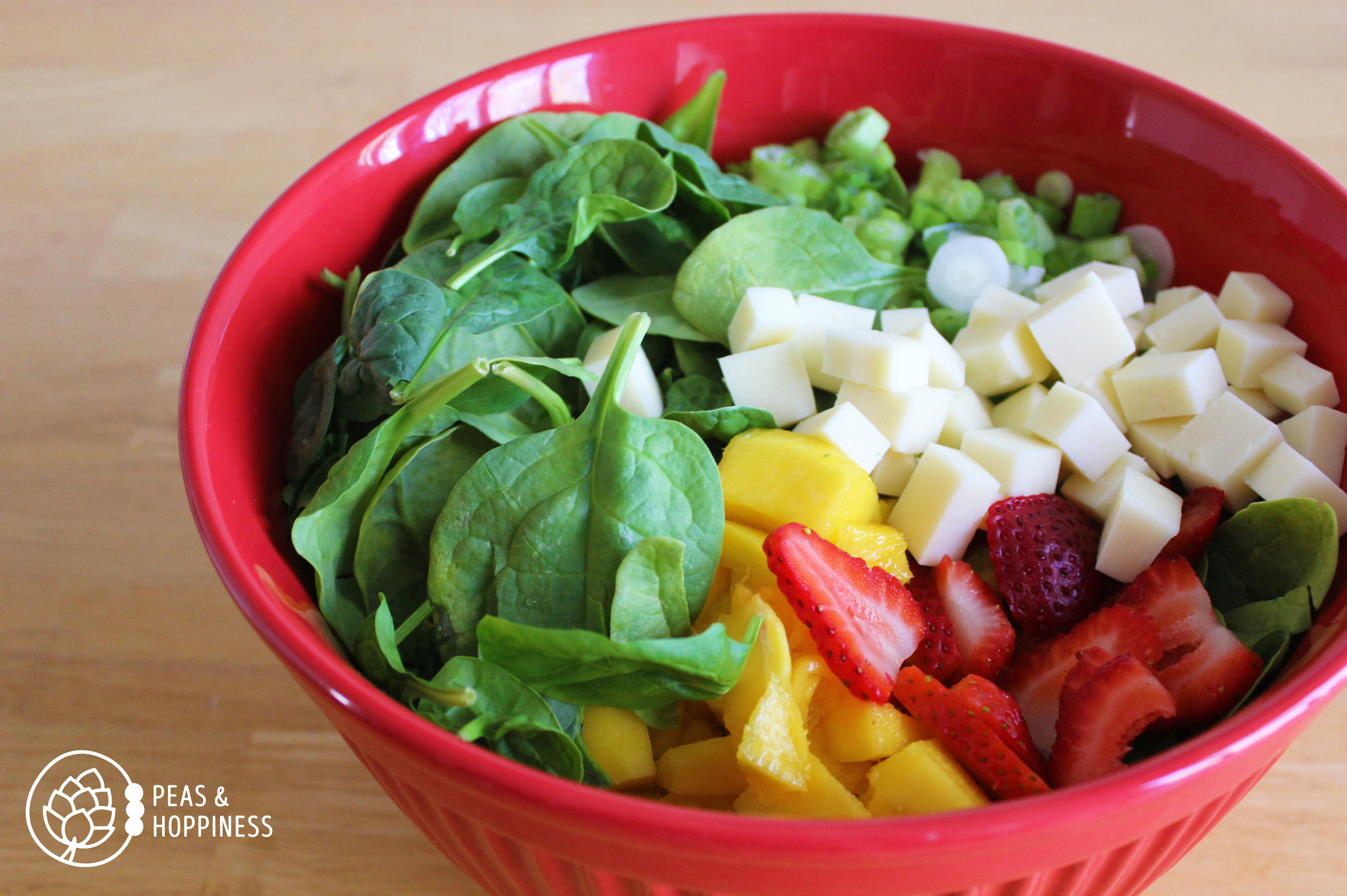 Strawberry Mango Spinach Salad from Peas and Hoppiness - www.peasandhoppiness.com