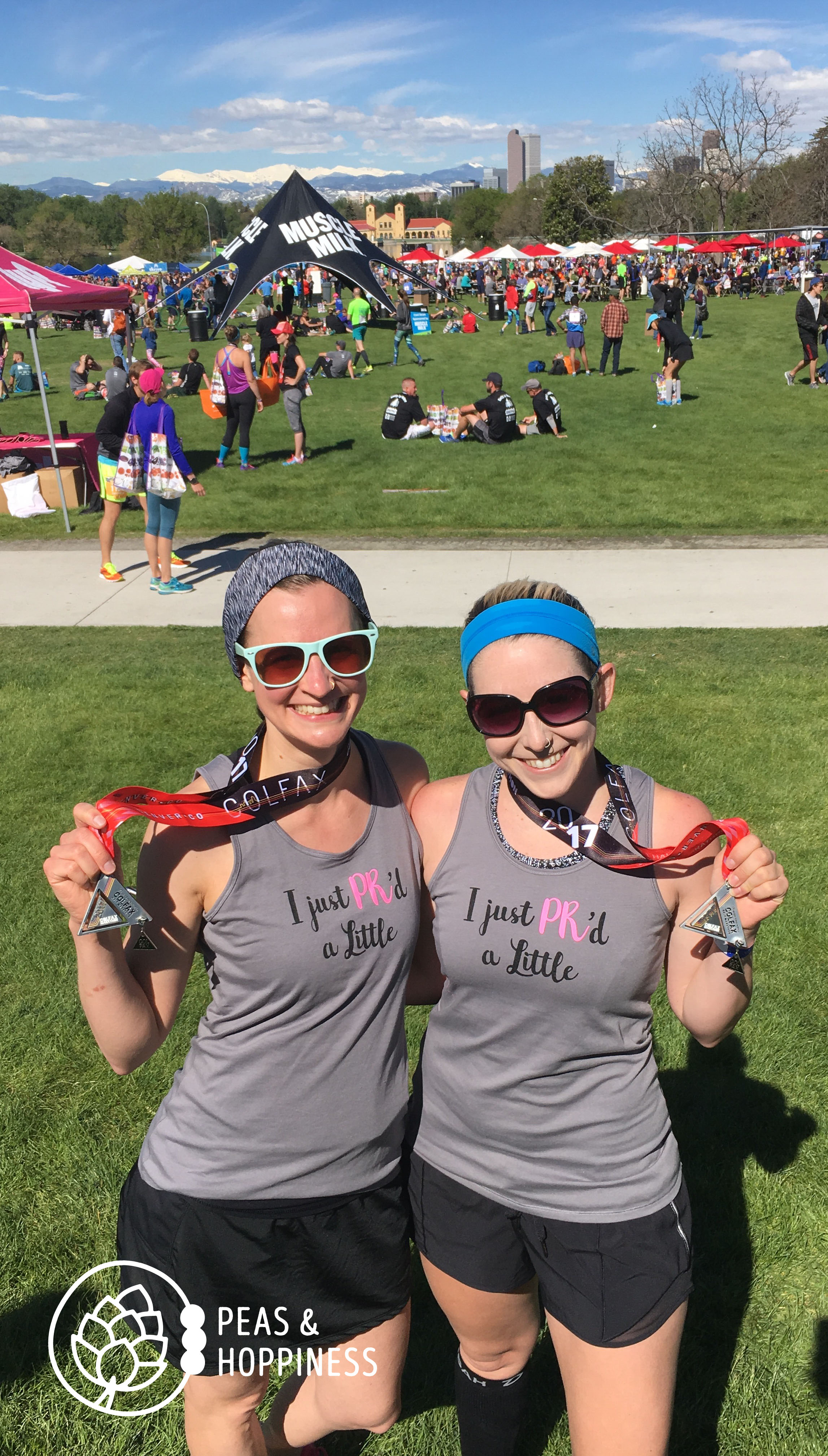 """In case you didn't know, """"PR"""" stands for """"Personal Record."""" I took five minutes off last year's half-marathon time and PR'd with my bestie. (Shirt & running skirt from  Skirt Sports )"""