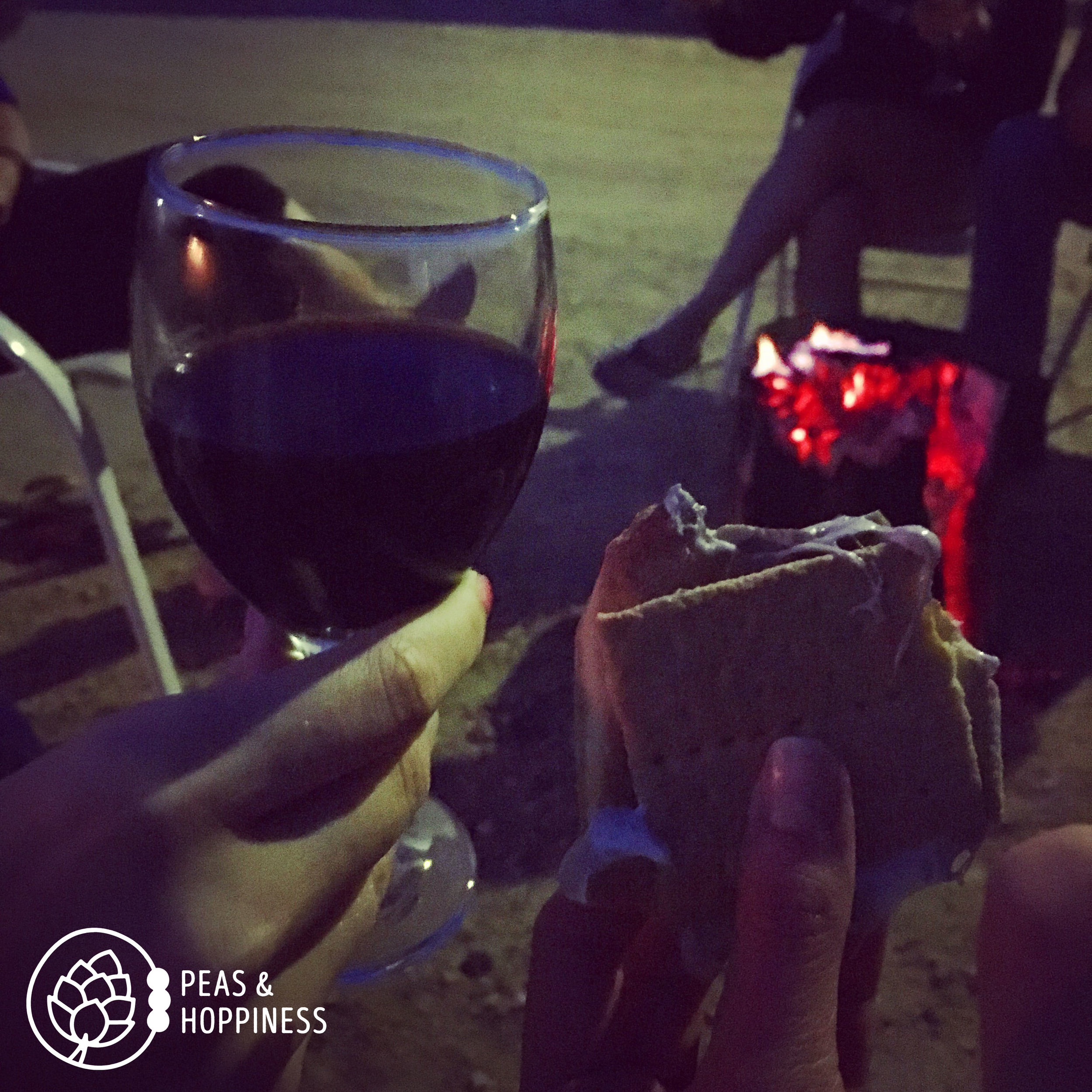 Wine + S'mores + Campfire + Friends. Sweet, sweet summertime