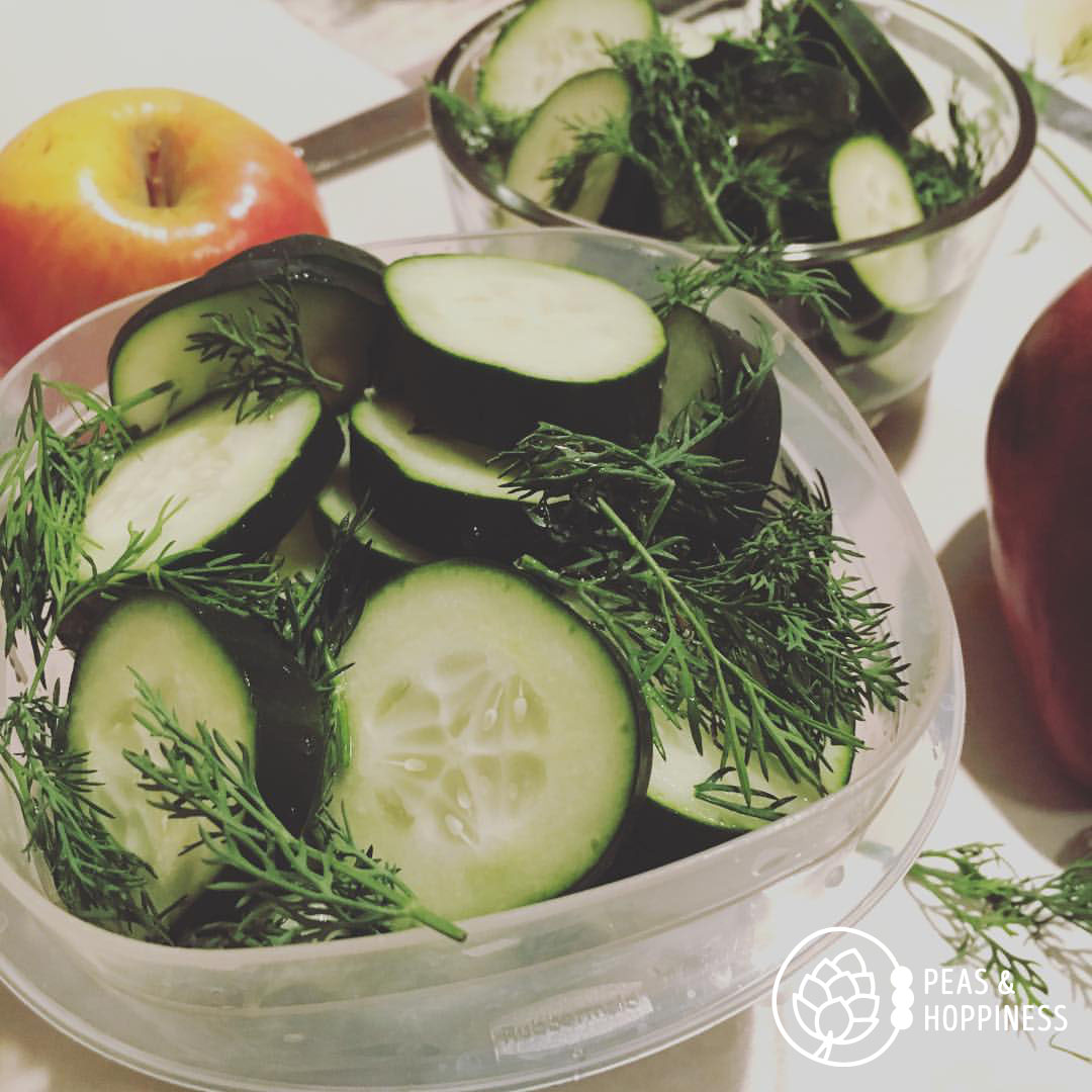 Cucumber, vinegar, and dill for a quick road trip to my parents' house for the weekend