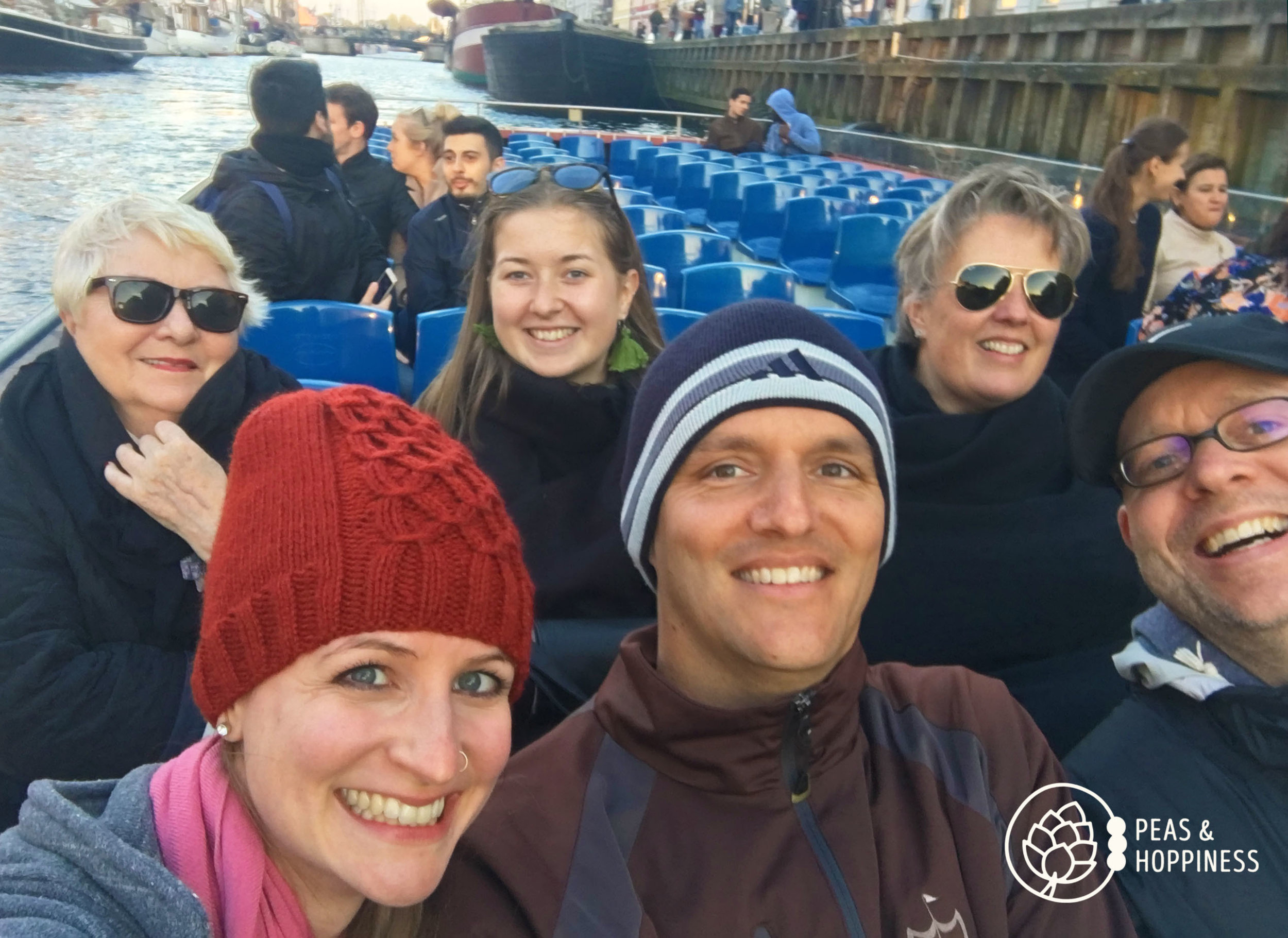 Selfie on the canal tour of us with Pat's Danish family - the best tour guides and hosts we could possibly imagine!