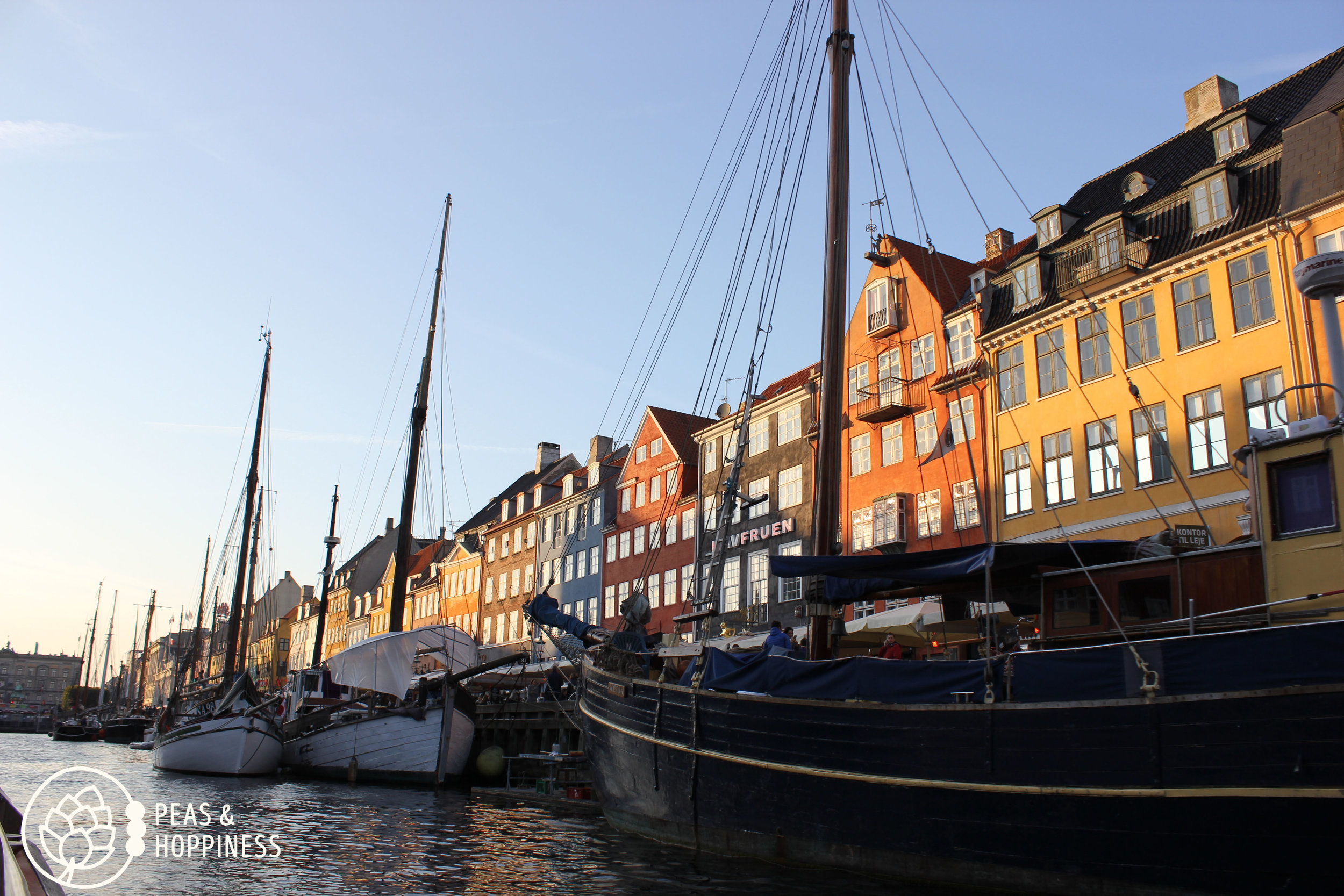 Nyhavn  in Copenhagen from the boat of a canal tour