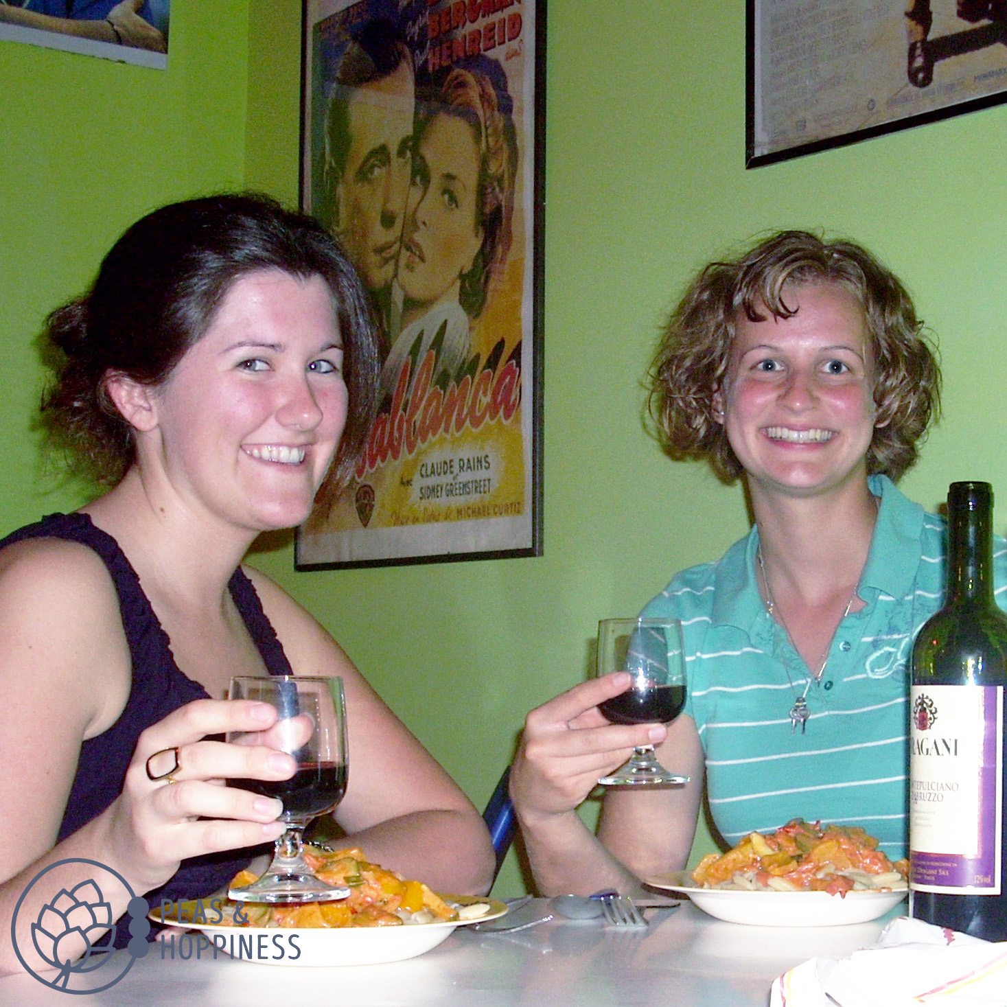 Megan and I with our home-cooked Italian meal in a hostel in Rome