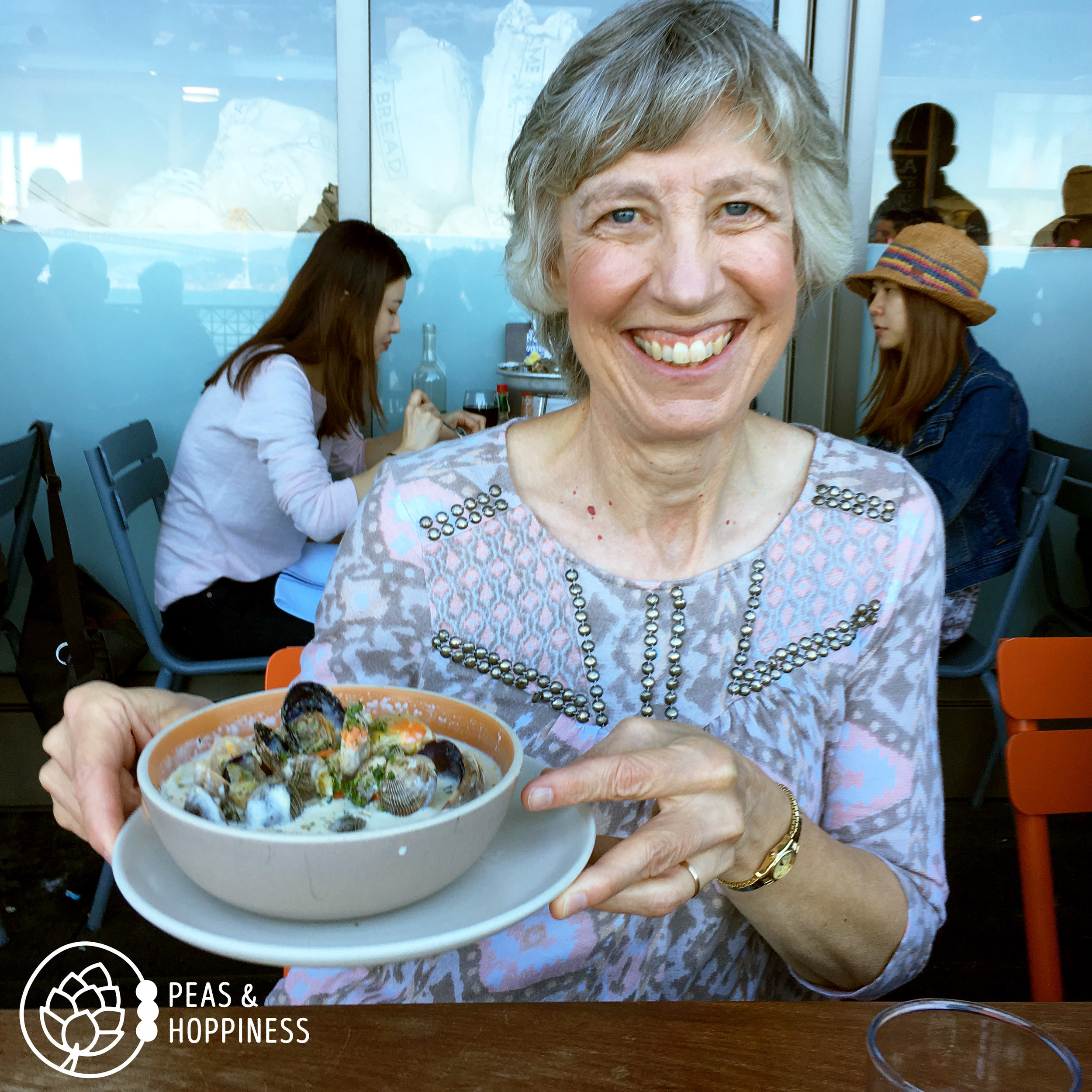 My beautiful mama with gluten-free clam chowder on our Mother/Daughter trip to San Francisco