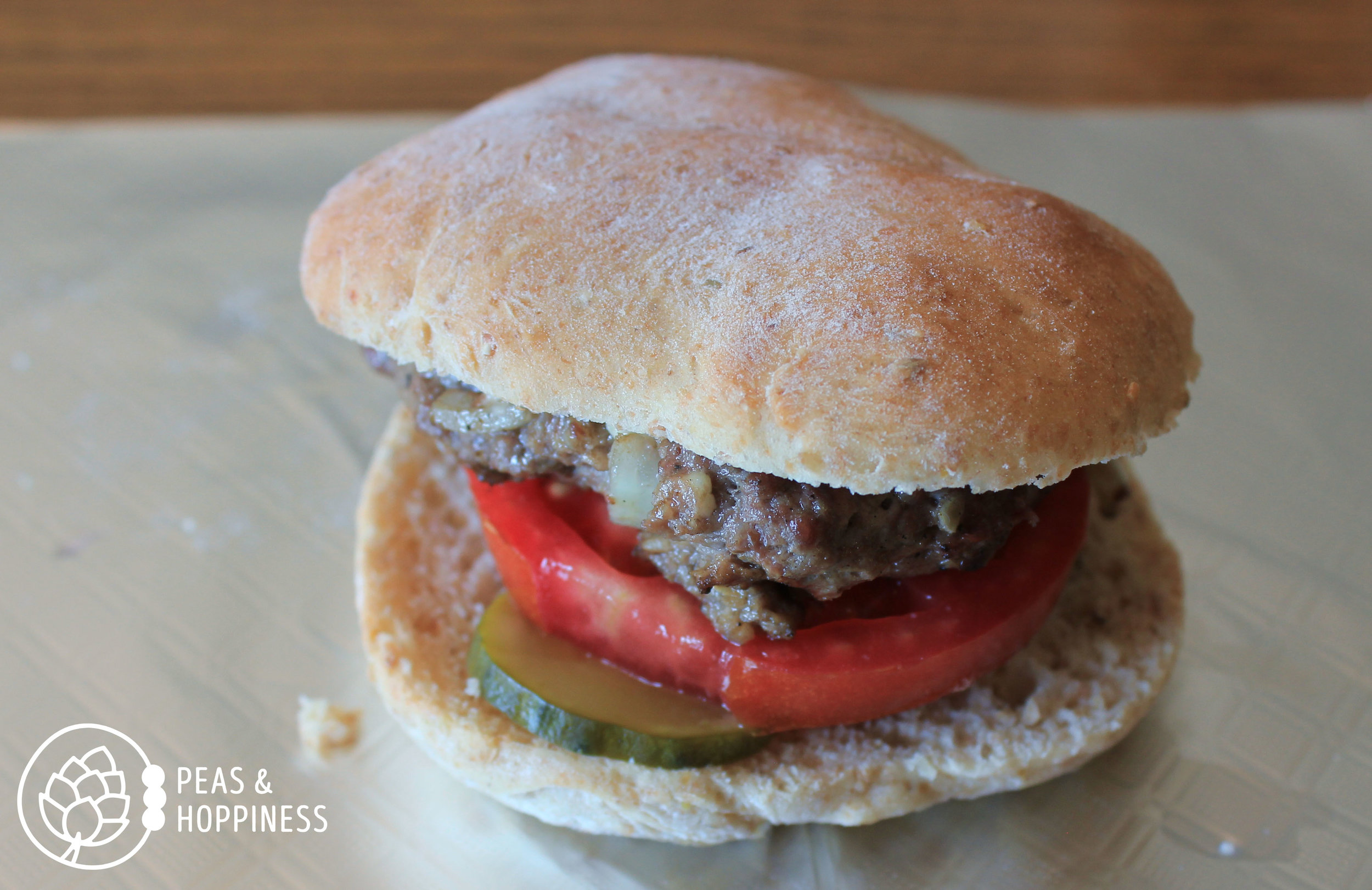 Homemade bun, hand-crafted burger. This is farm life at Scheufler Farms.