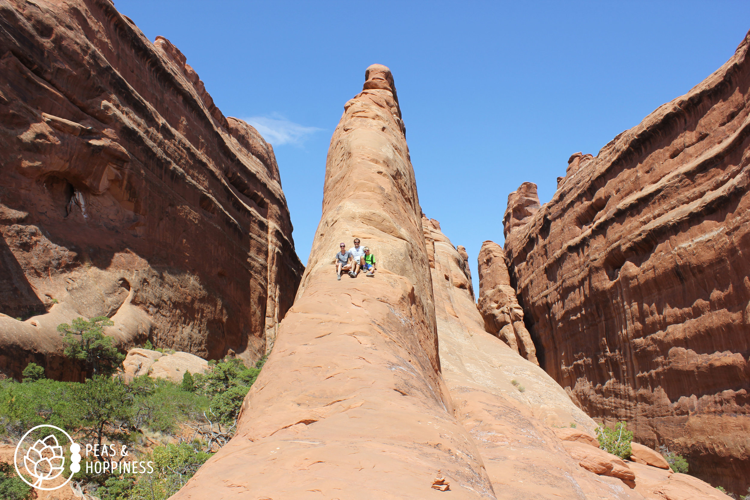 Myself, Pat, and Jonah atop a fin in Arches National Park