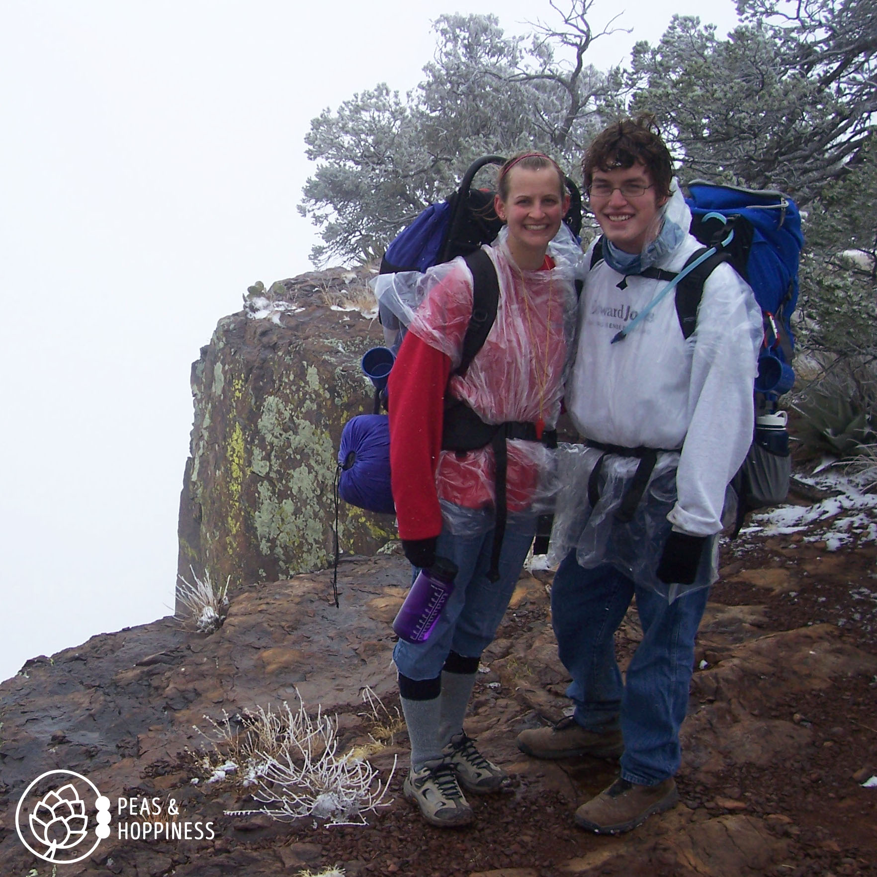 Young Ann and Deric - not their first backpacking trip, but before learning to bring more clothes than you'll think you need (it snowed unexpectedly) and prior to purchasing modern-day internal-framed backpacks. But they lived! Big Bend National Park