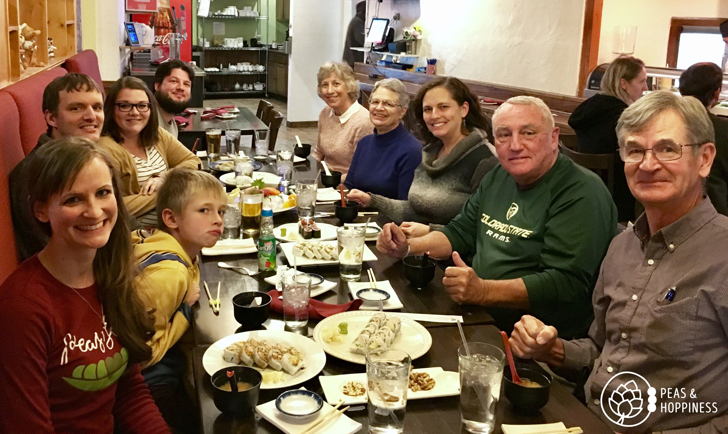 When it's cold, the family comes to visit and we all go out to sushi!