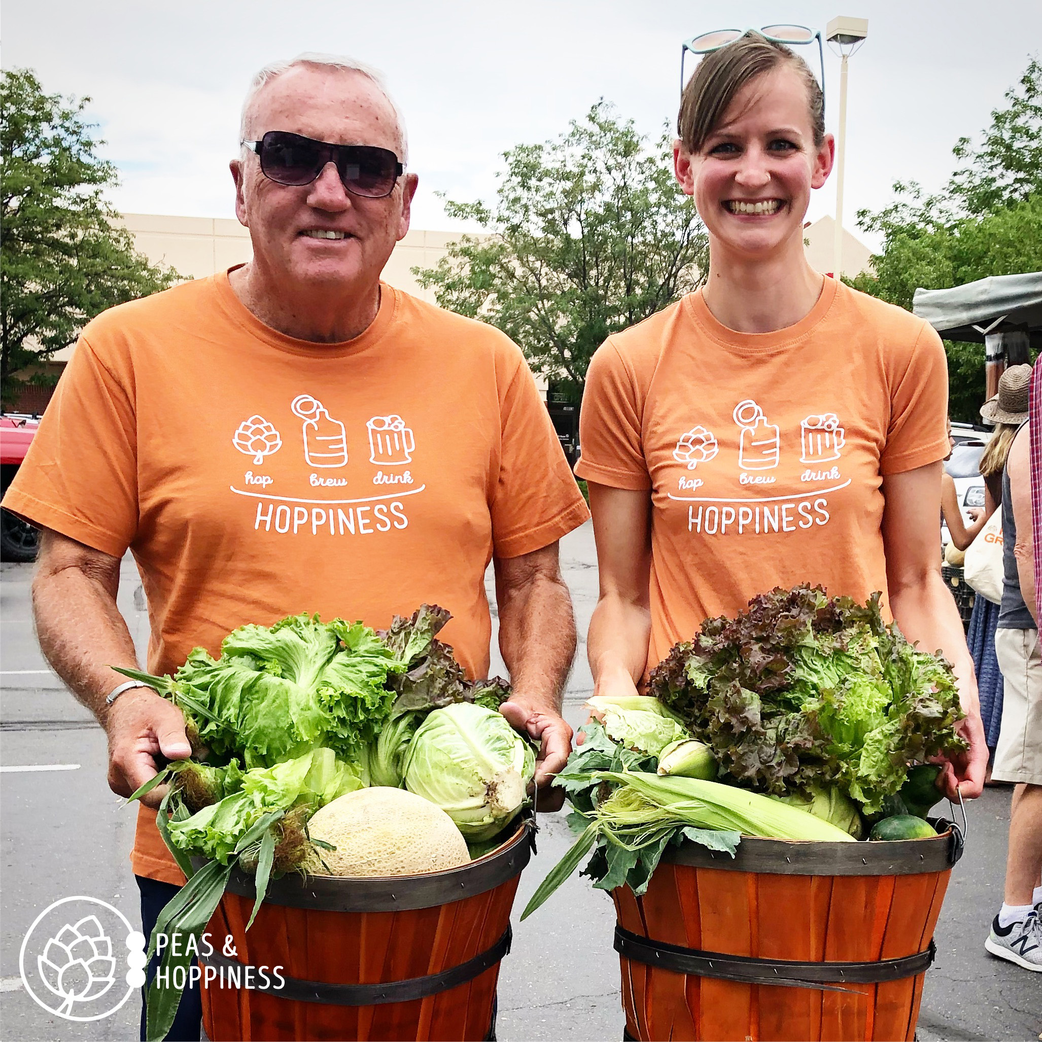My father-in-law sporting his  Hoppiness  tee and helping us pick up our CSA baskets!