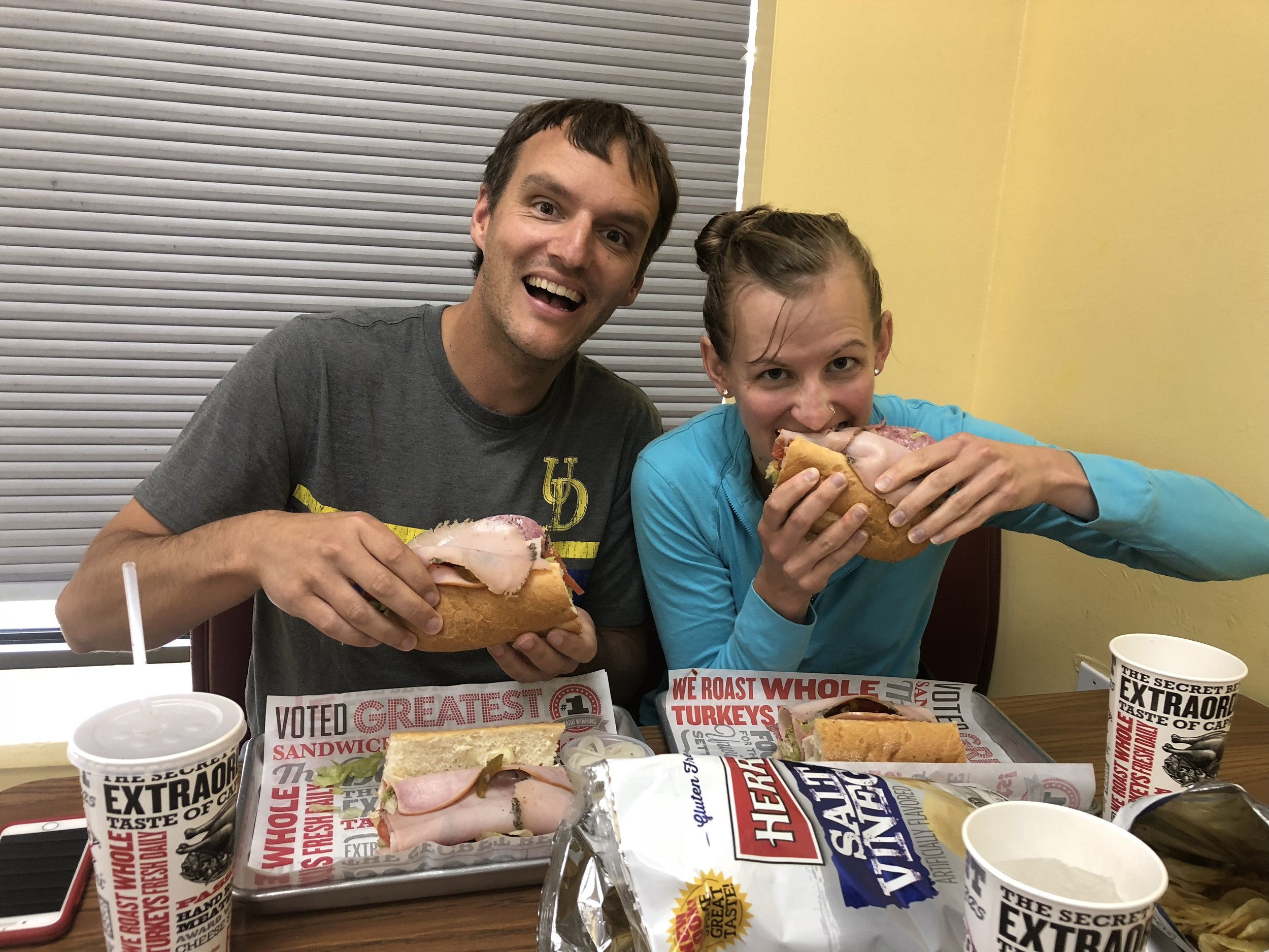 The happiest Patrick has ever been, eating an Italian Sandwich at Capriotti's, September 2018