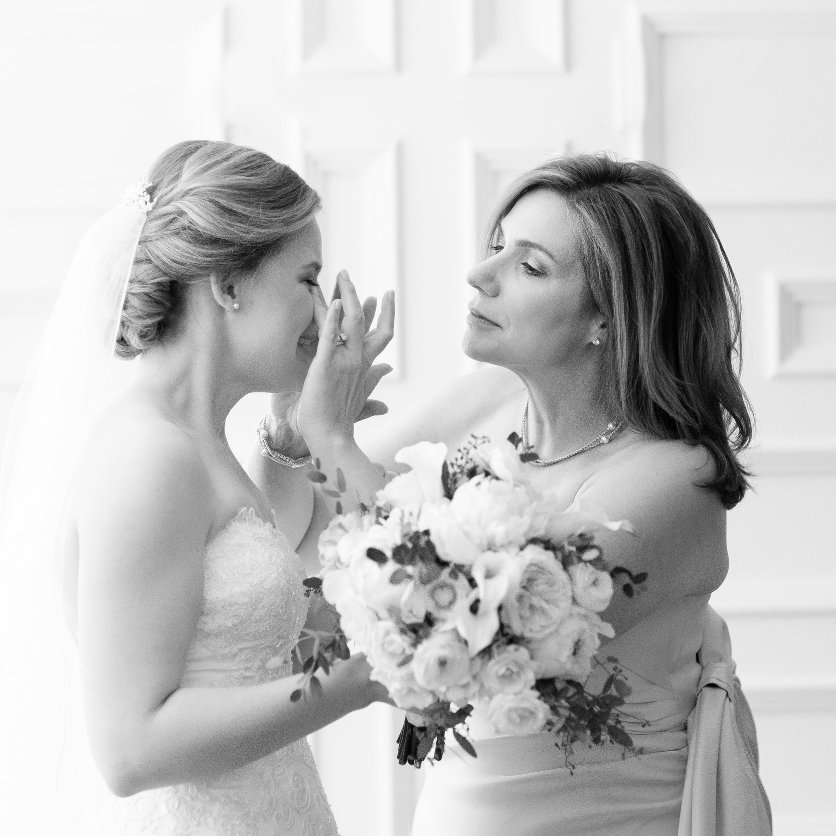Brides hair and makeup by Nancy, mother makeup by Lindsey, hair by Nancy. Photo by Adrienne Matz Photography