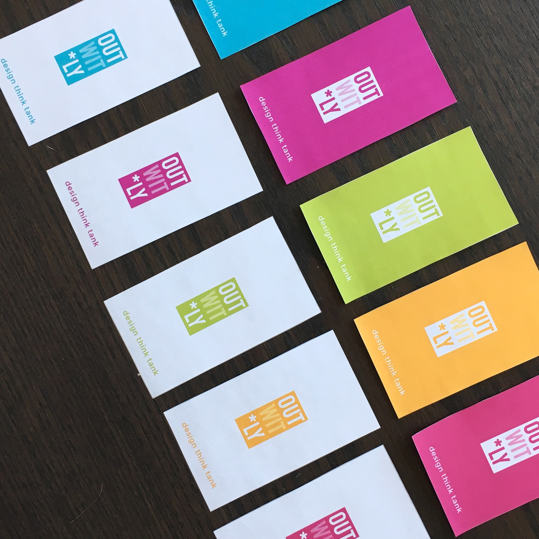 Colourful business cards.