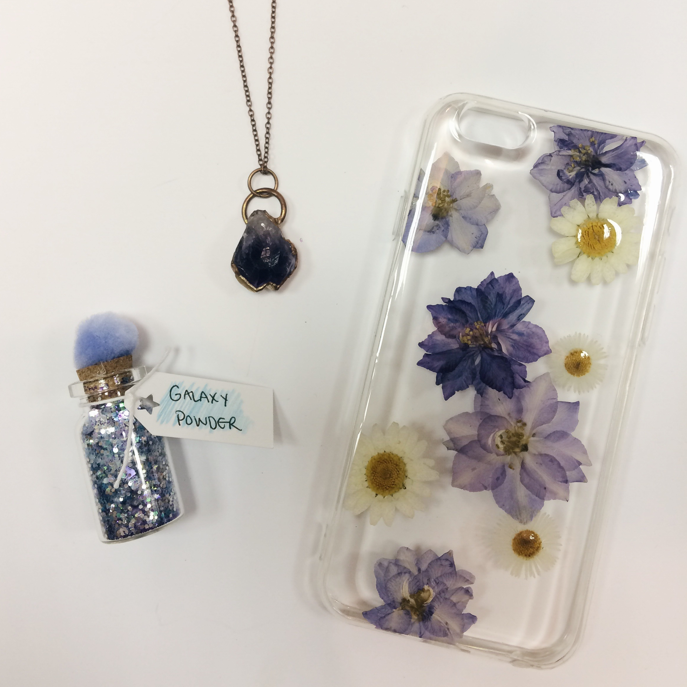 Amethyst & Copper Necklace, $35 Galaxy Powder, $3 Pressed Floral iPhone 6/6s case, $40