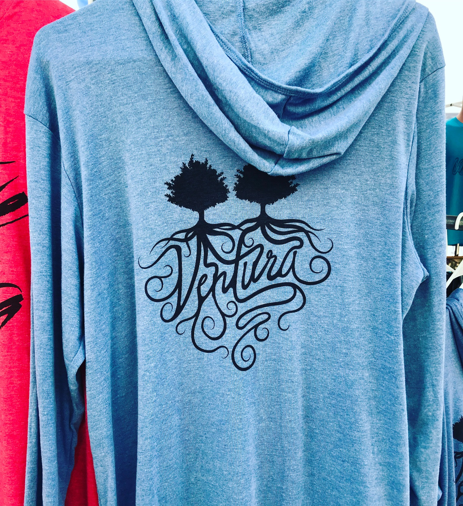 Two-Trees Hoodies Heather Blue and Charcoal - Click on photo for more information