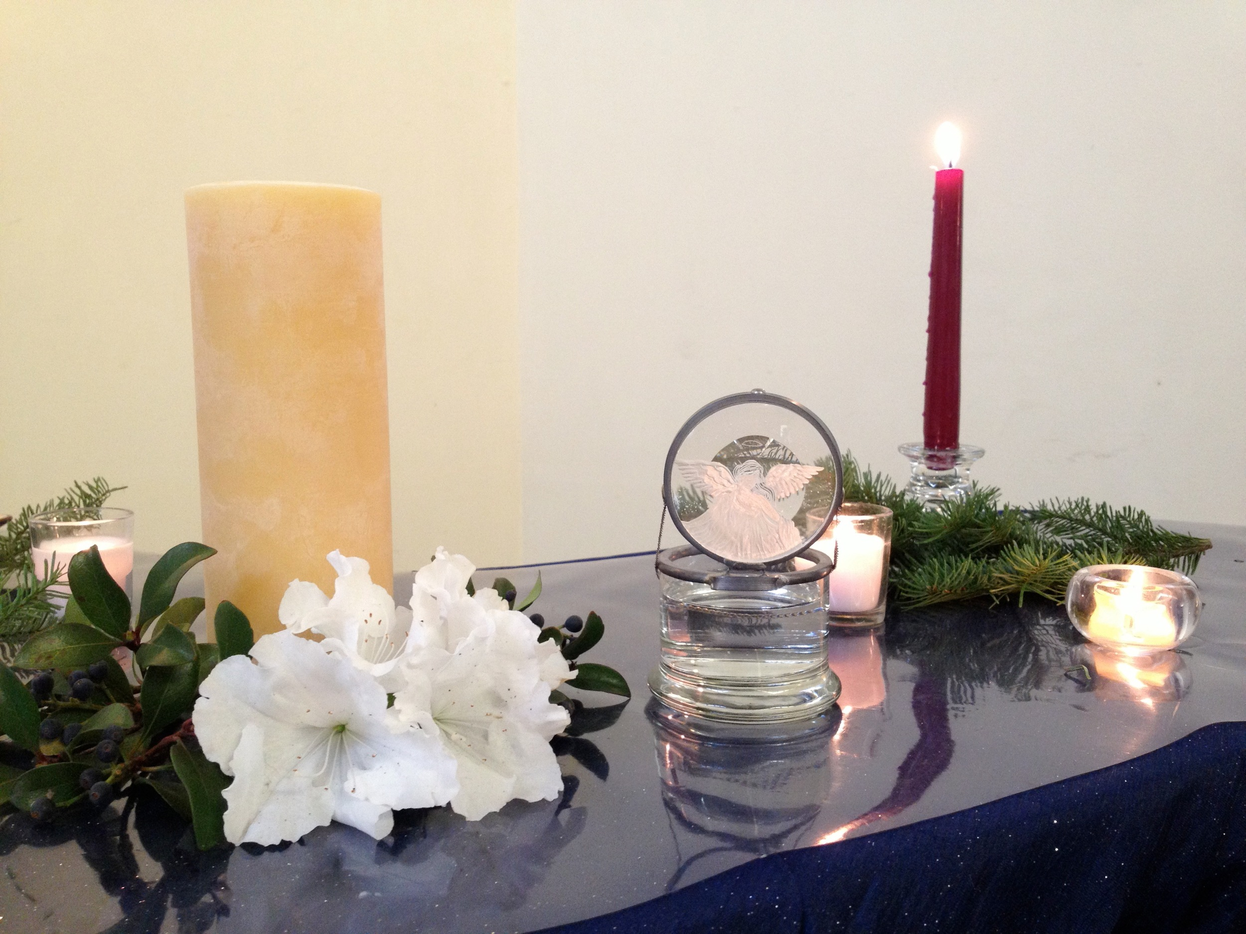 Altar decorated for advent