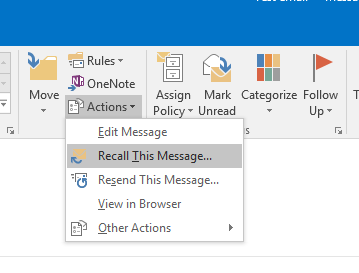 Recall Unsend an Email in OUtlook