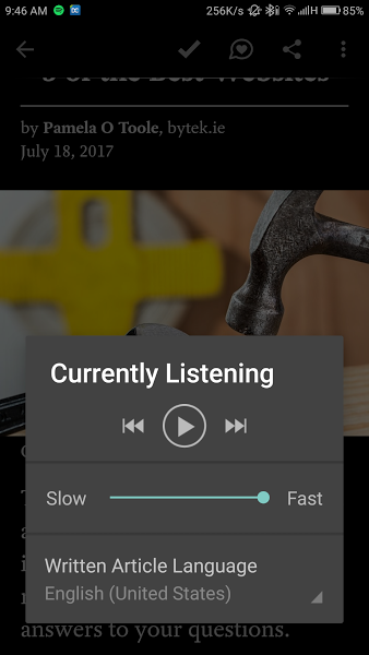 Pocket App using Text to Speech feature