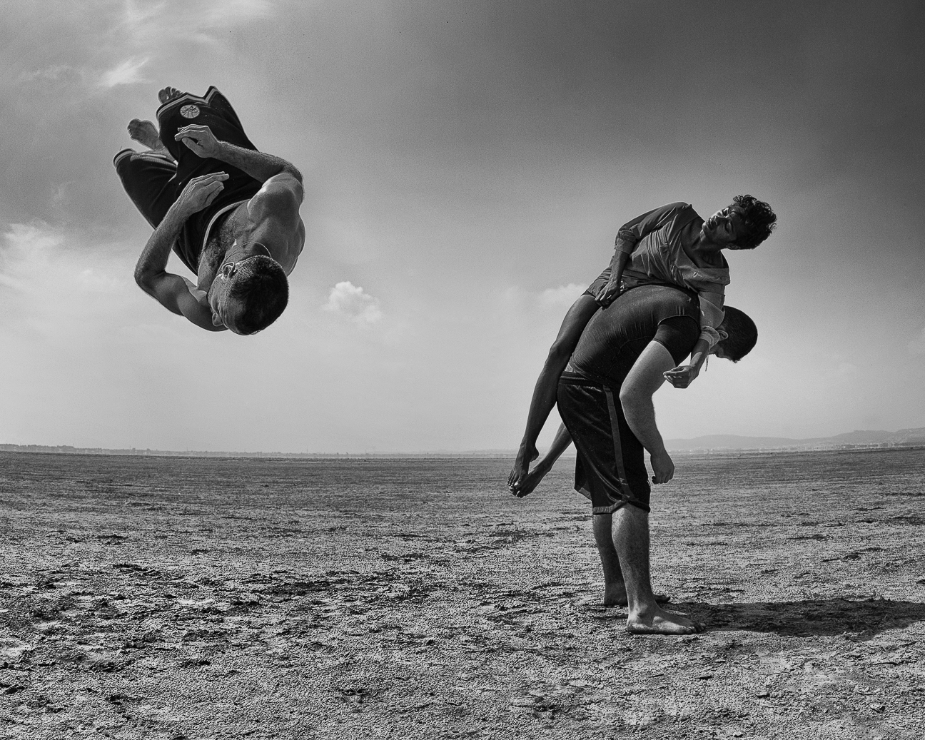"""One of my favourite photos I've ever taken. Dancers Sarah Cernaux, Nassim Feddal & Ali Brainais from """" Compagnie La Baraka """", with whom I toured with from 2013-2015. Shot in Tunisia while leading them in improvisation."""