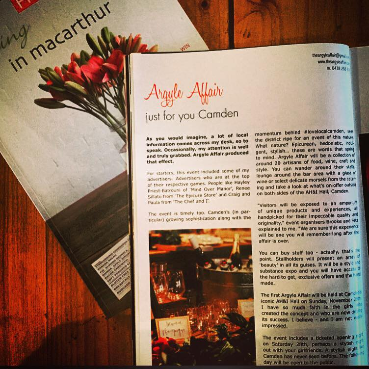Fantastic pre event press from In Macarthur Mag - thank-you David for having faith in our event.