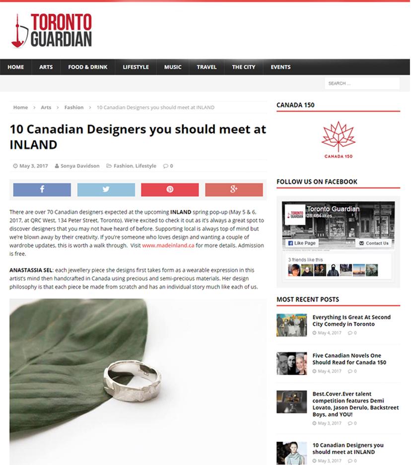 Toronto Guardian - Anastassia Sel Jewelry