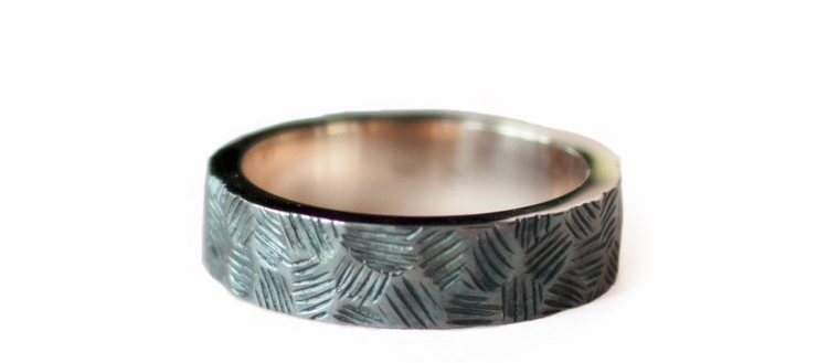Faceted Oxidized Male Wedding Band - Anastassia Sel Jewelry