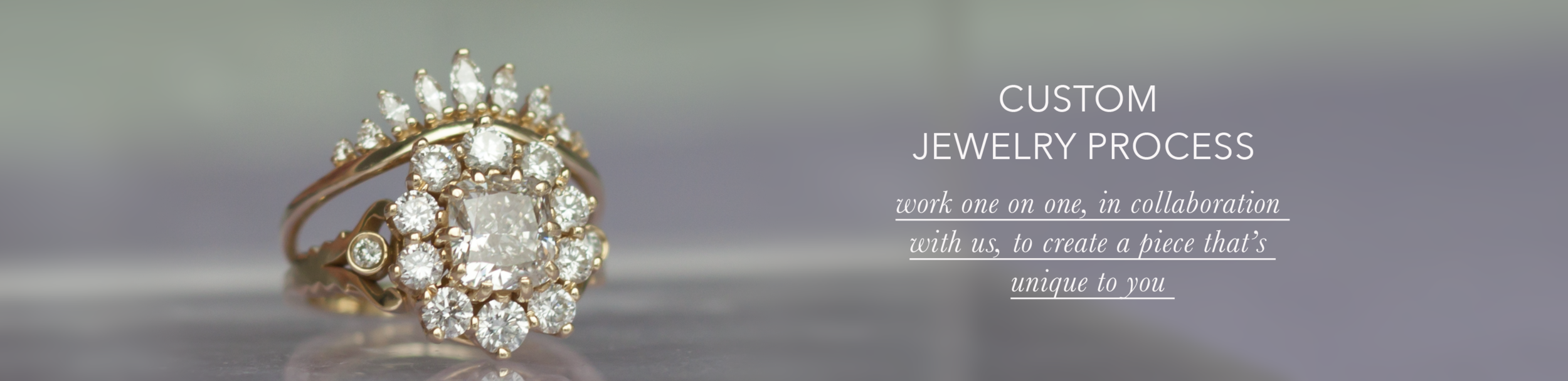 Custom vintage inspired diamond ring and solid 18K yellow gold, made by Anastassia Sel Jewelry.