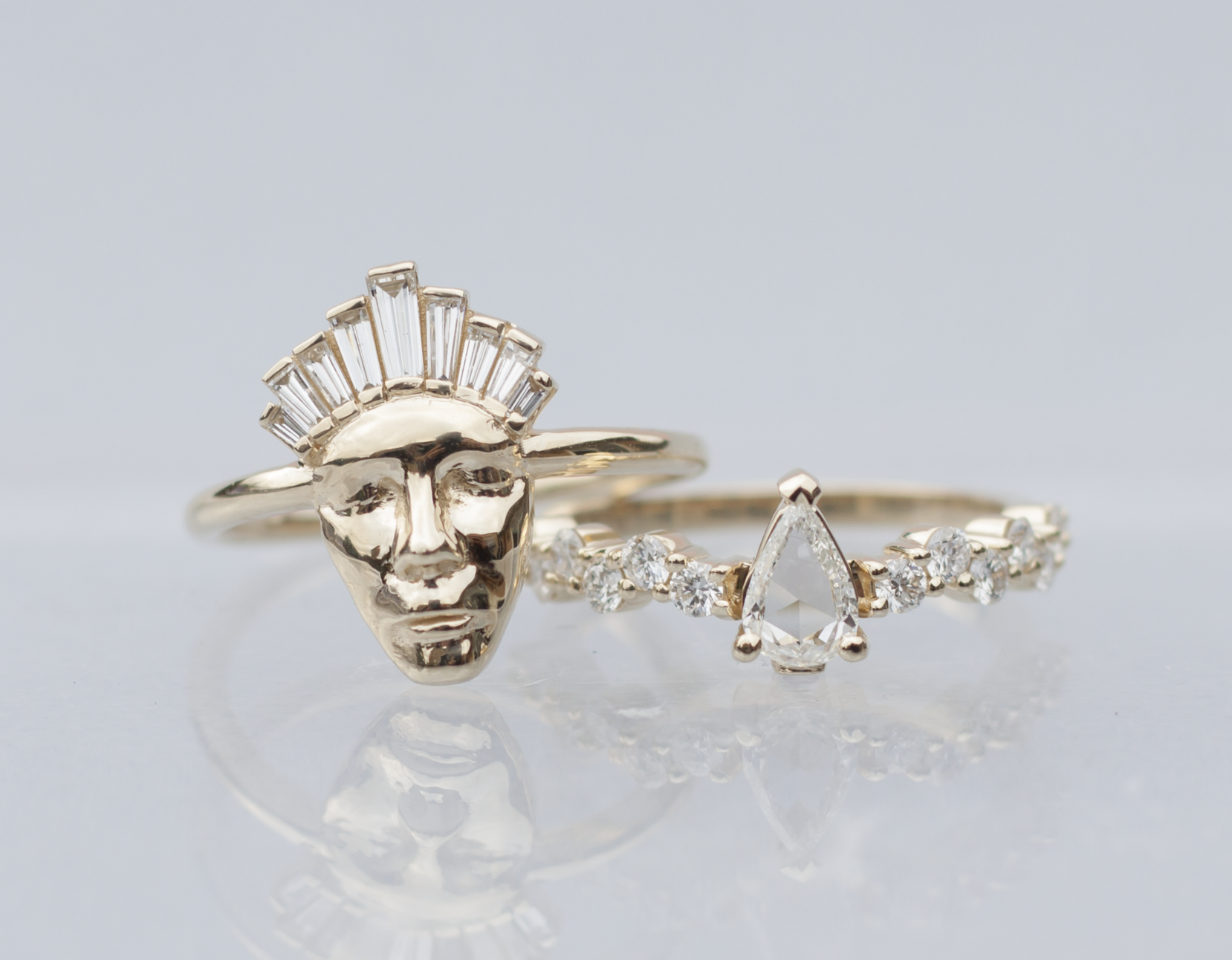 Anastassia Sel Jewelry - Gold Face Ring - Rose Cut Ring - Unique Engagement Ring