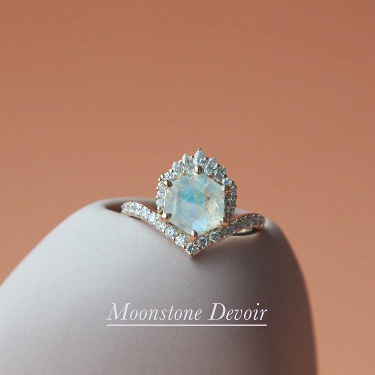 Anastassia Sel Jewelry - Moonstone Crown Engagement Ring - Unique Engagement Ring