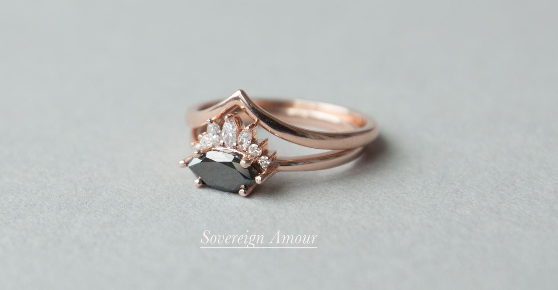 Anastassia Sel Jewelry - Unique Engagement Ring - Black Diamond Engagement Ring