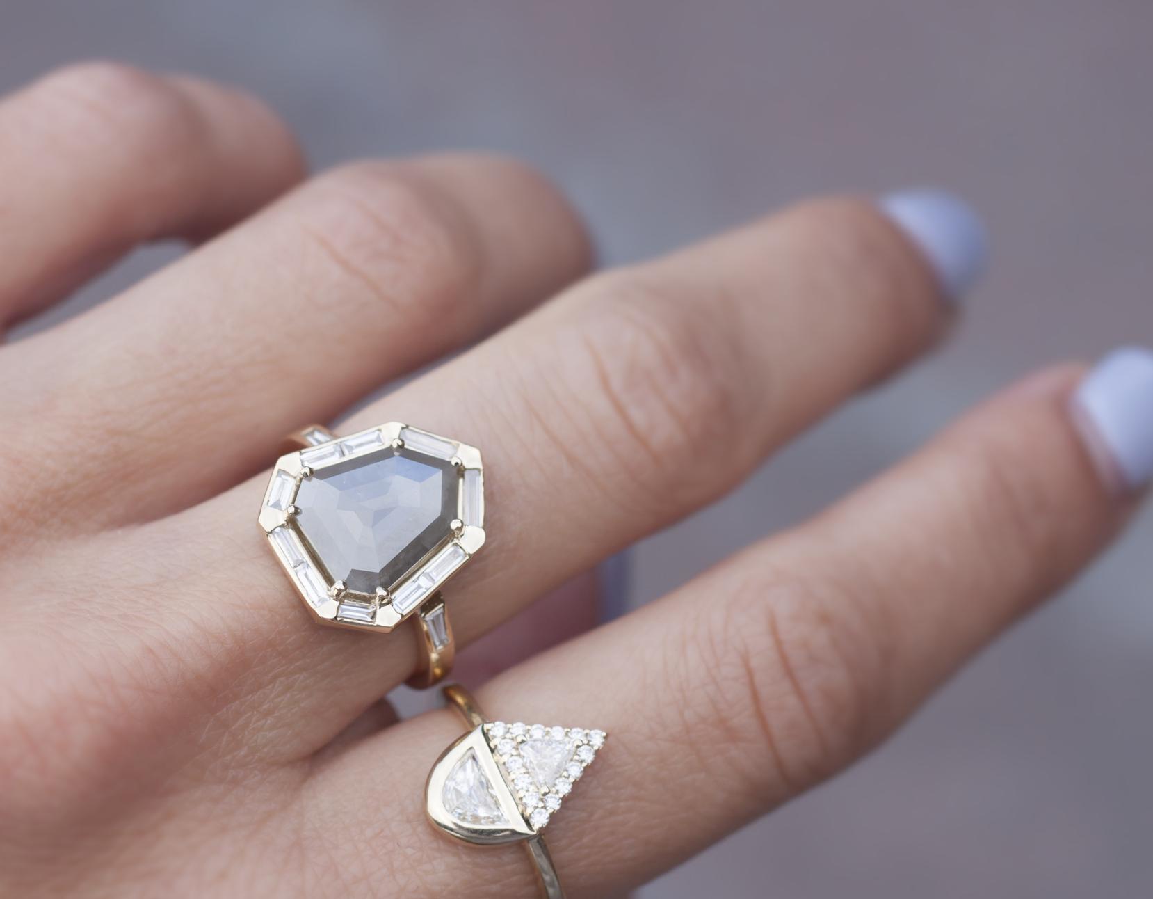 Shield Cut Diamond Engagement Ring - Anastassia Sel Jewelry