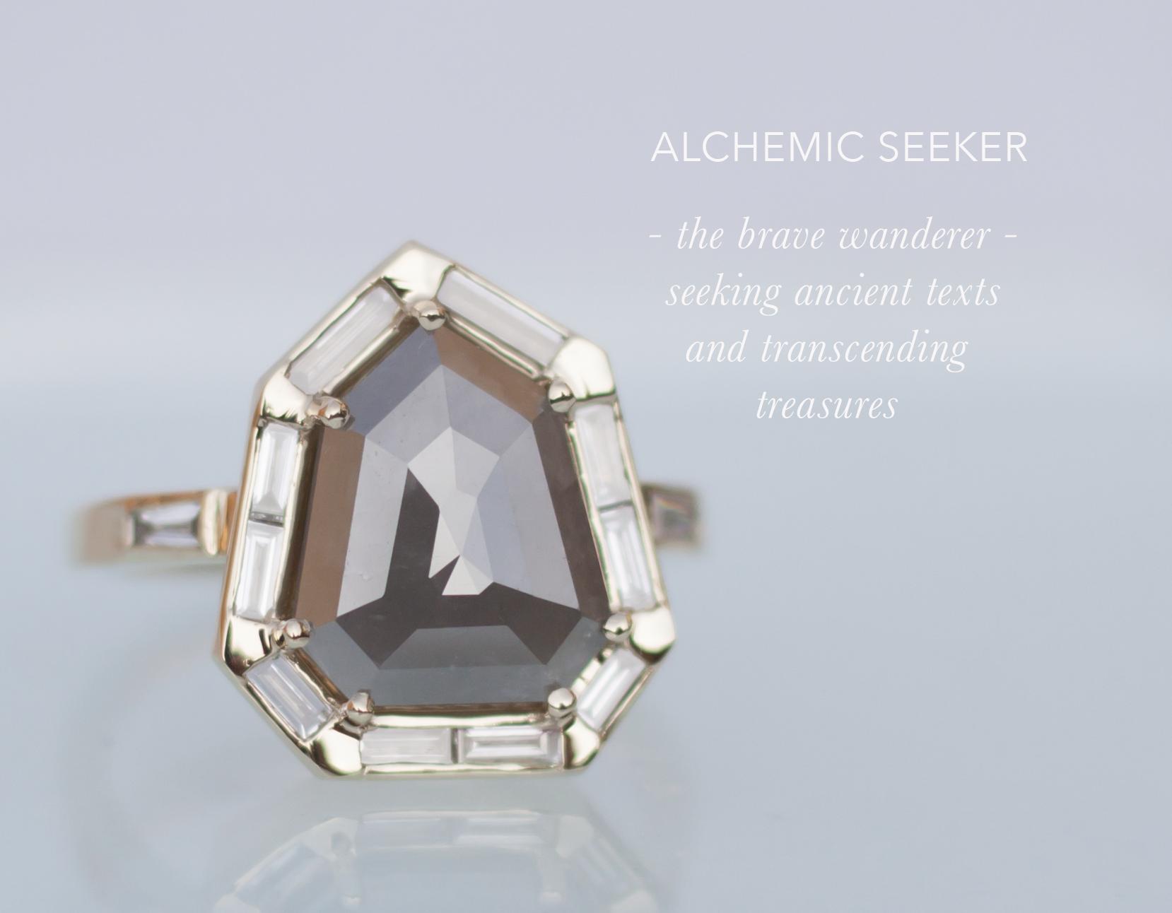 Shield Cut Diamond Baguette Unique Engagement Ring - Anastassia Sel Jewelry