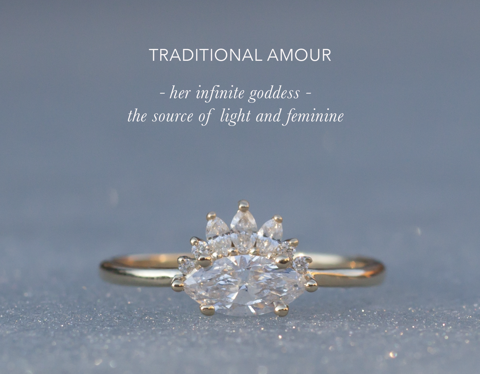 Unique Engagement Ring - Diamond Crown Marquise Gold Ring - Anastassia Sel Jewelry