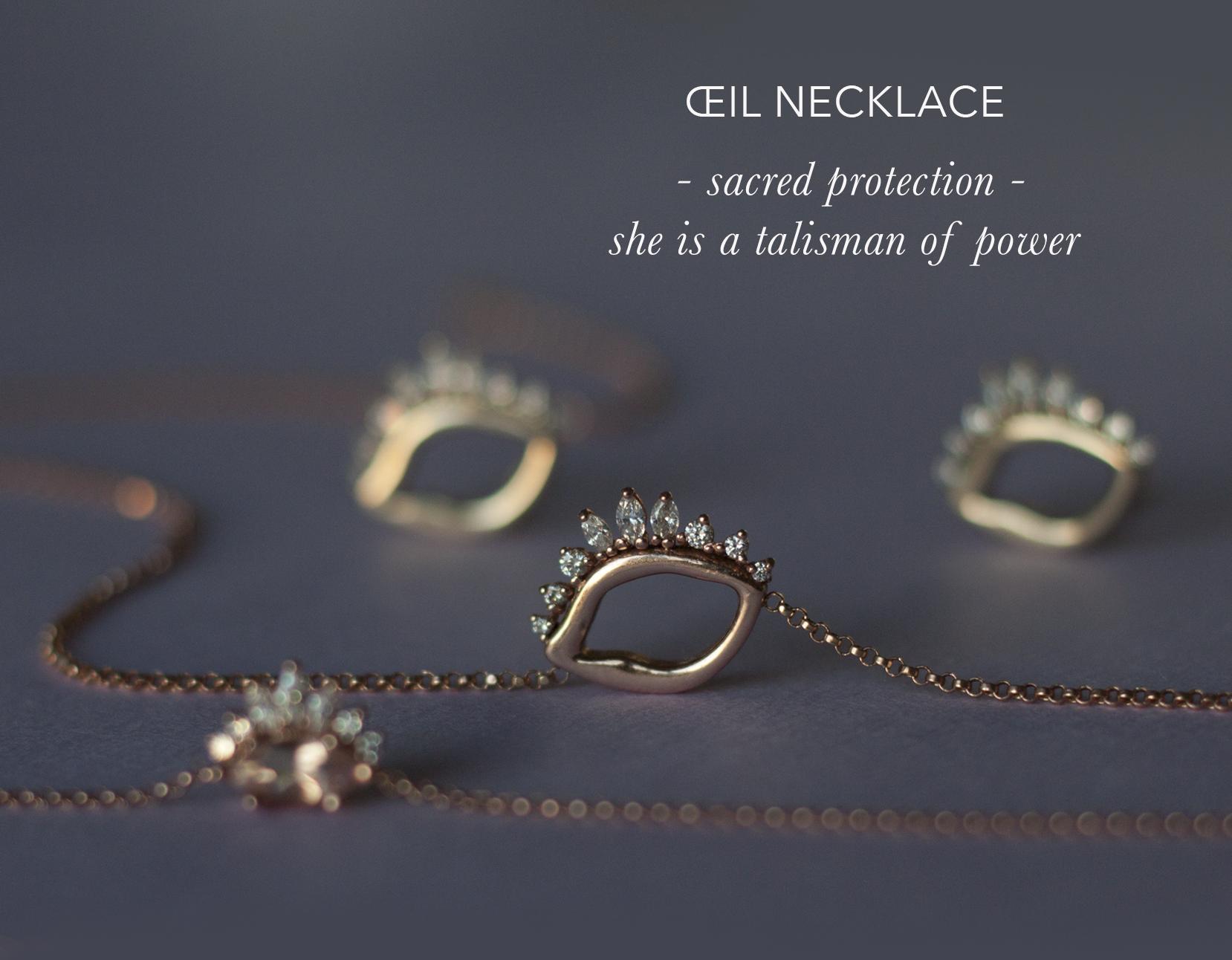 Evil Eye Necklace - Unique Diamond Necklace - Anastassia Sel Jewelry