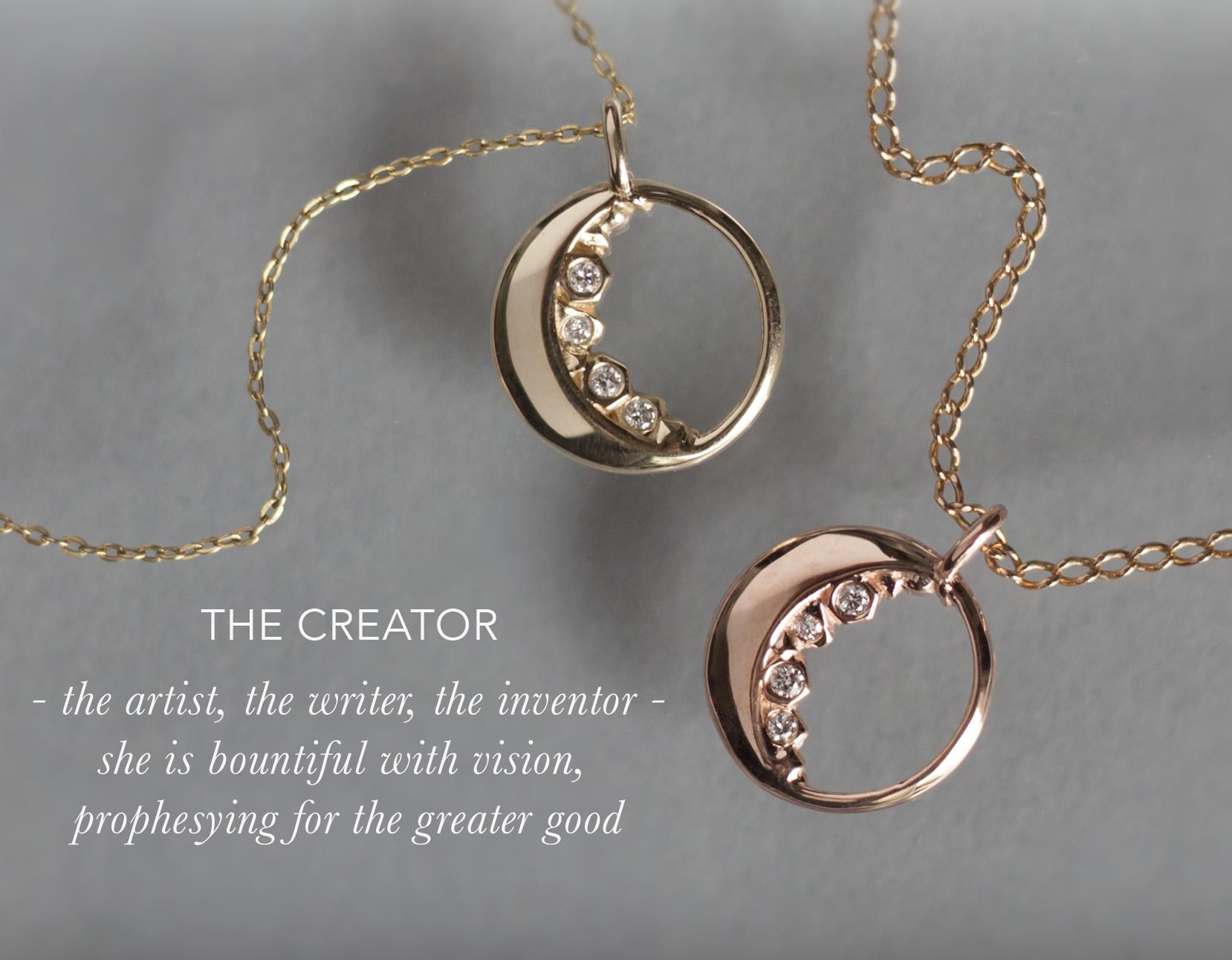 Half Moon Diamond Necklace - Anastassia Sel Jewelry