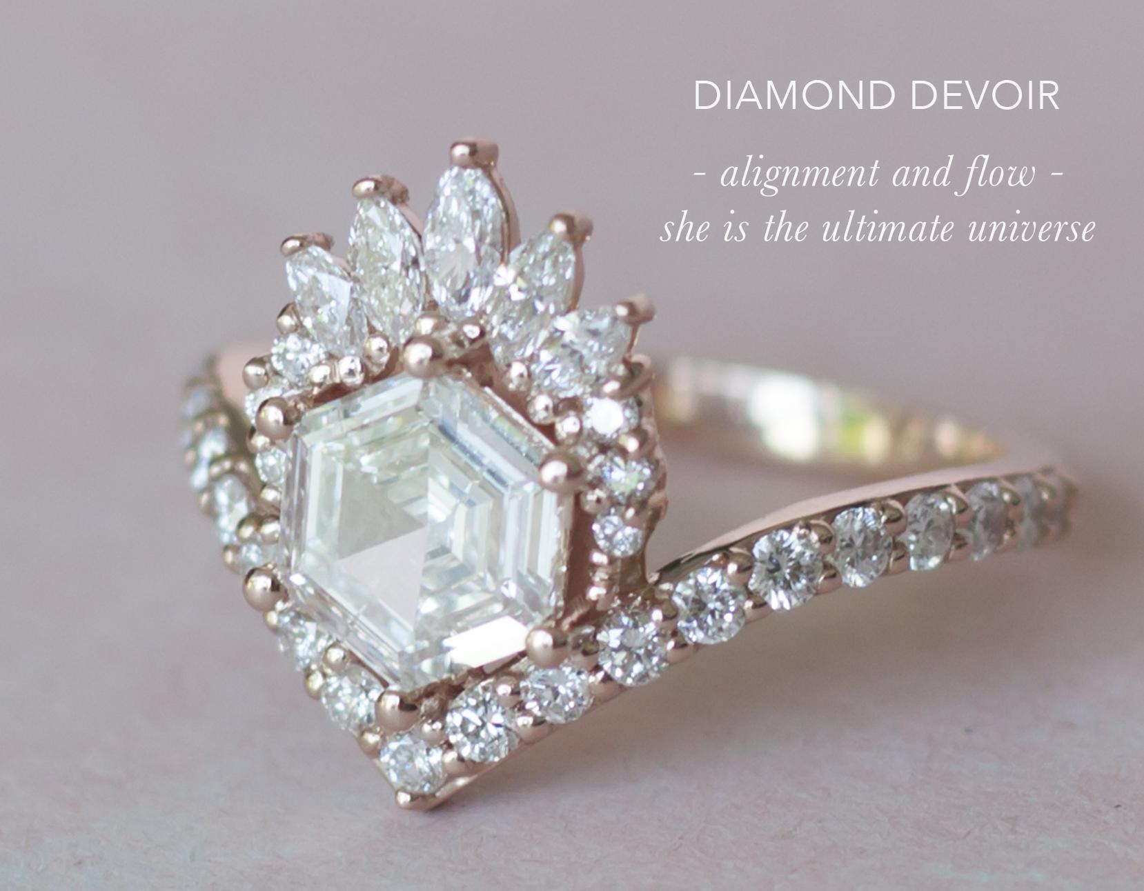 Hexagon Diamond Engagement Ring - Diamond Crown Engagement Ring - Anastassia Sel Jewelry