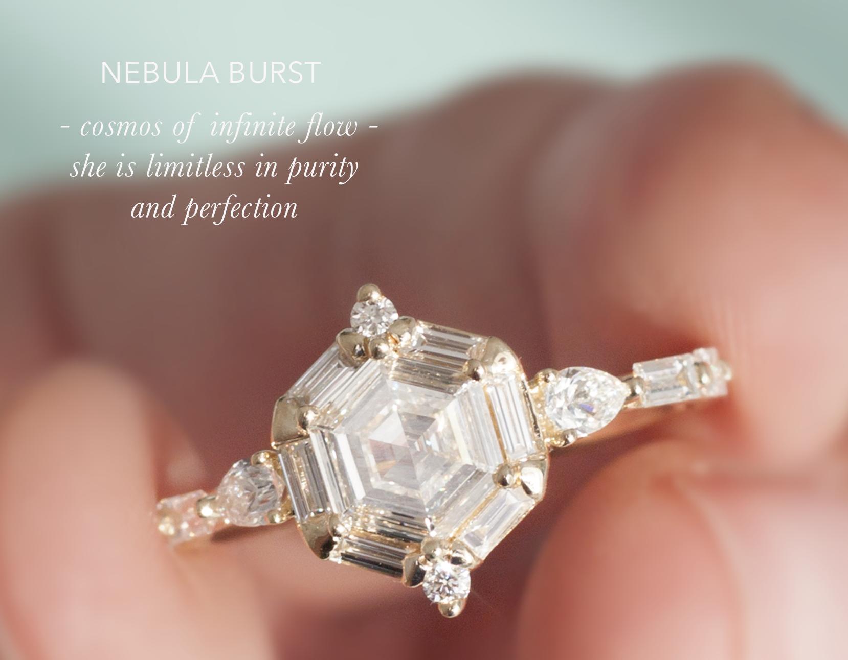 Art Deco Hexagon Engagement Ring - Step Cut Diamond Ring - Anastassia Sel Jewelry