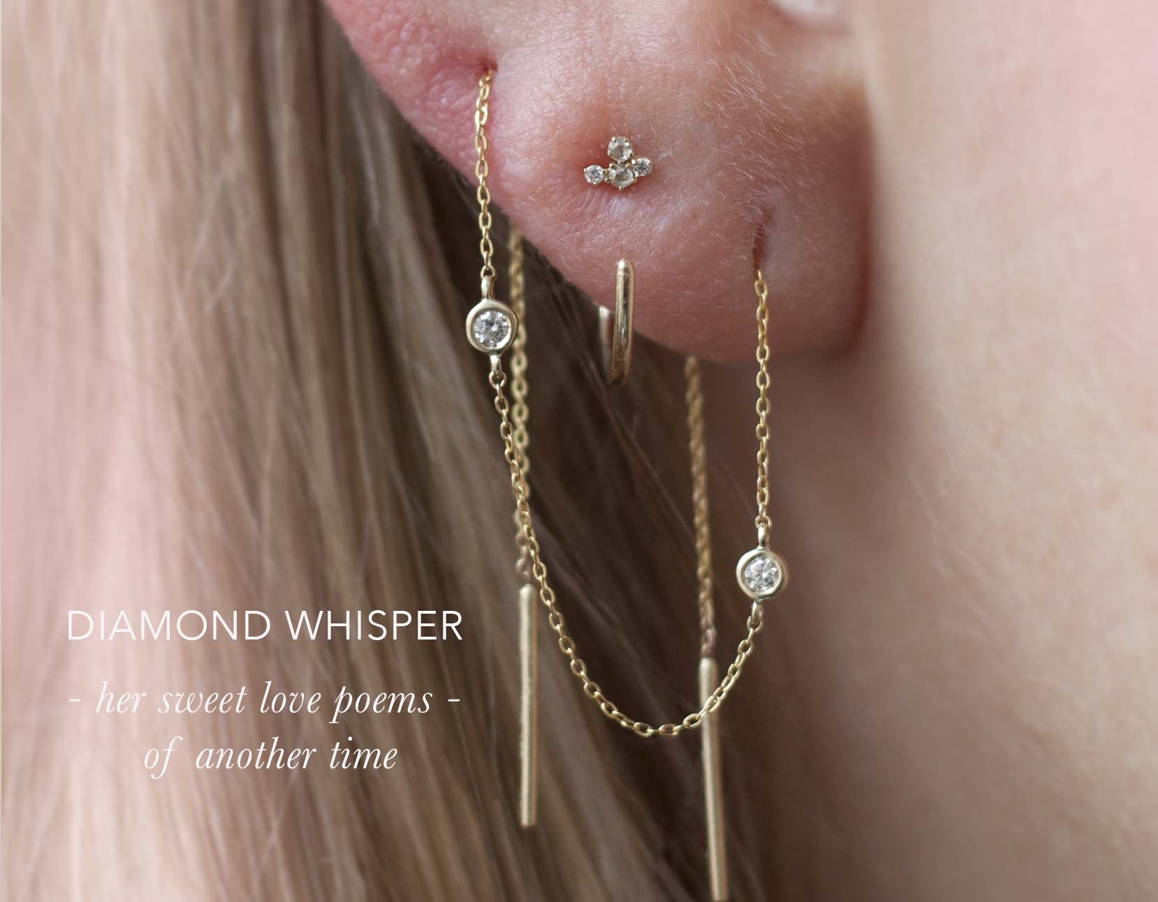 Diamond earrings, attached to a delicate 14k yellow gold chain threader. Wear as a pair for effortless style, or just one and  thread it in multiple piercings.