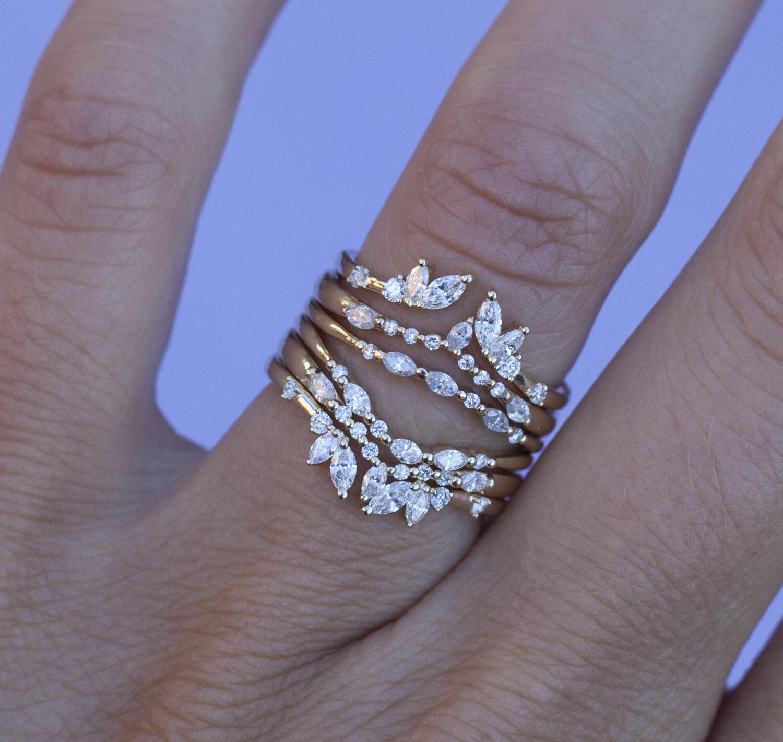 Dainty Diamond Opened Spacer bandMatching Diamond Wedding Band14k Solid GoldSimple Diamond Wedding RingStackable Wedding Band