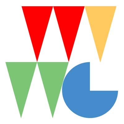 Danny Coope's graphic reduction of the gallery's intitials WVWG, reminiscent of 'villagey' bunting but with a 1980s twist.