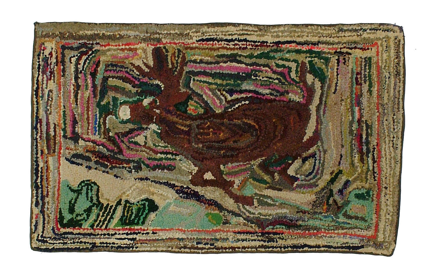 Antique American Hooked Rug 2 3 X3 8