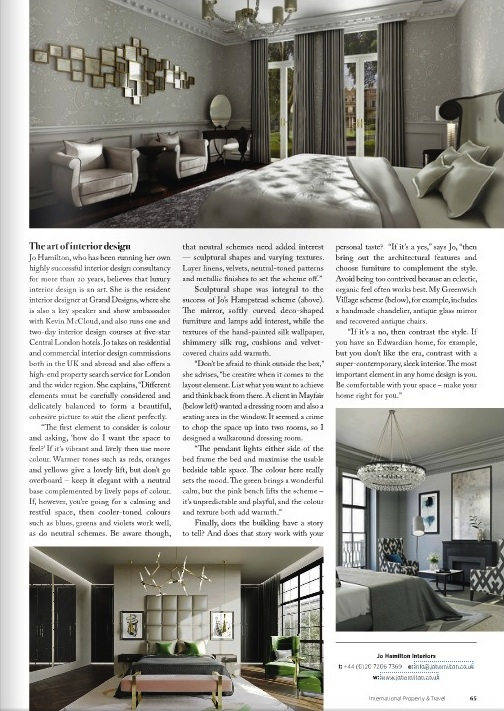 High-end London interior designer in International Property and Travel page three