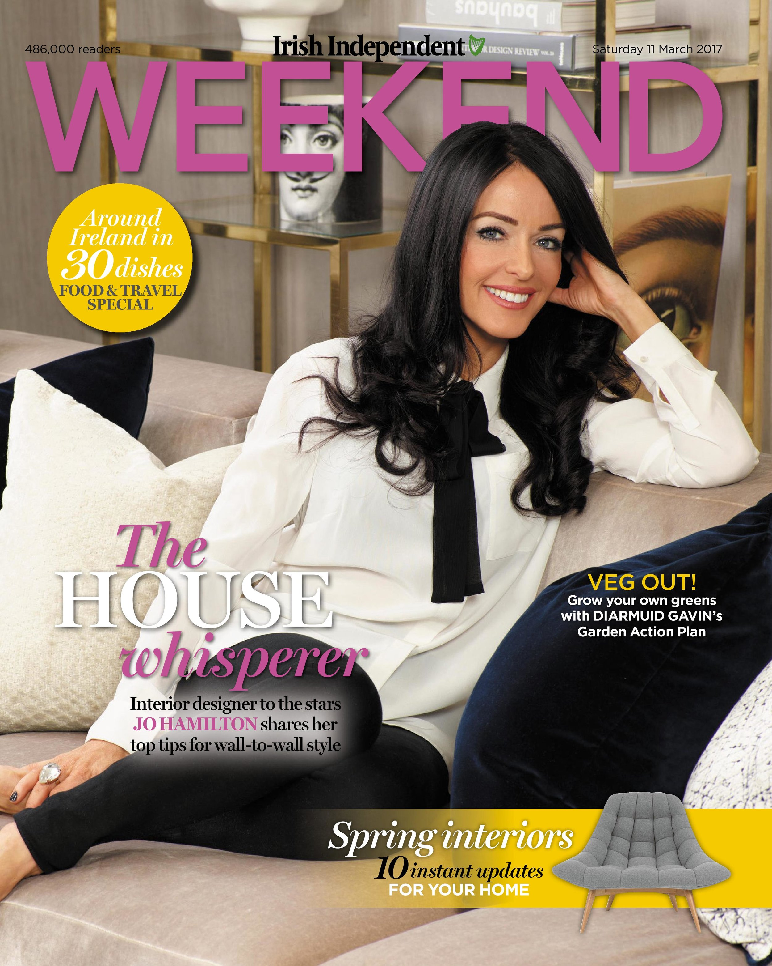 High-end London interior designer Jo Hamilton Irish Independent Weekend front page