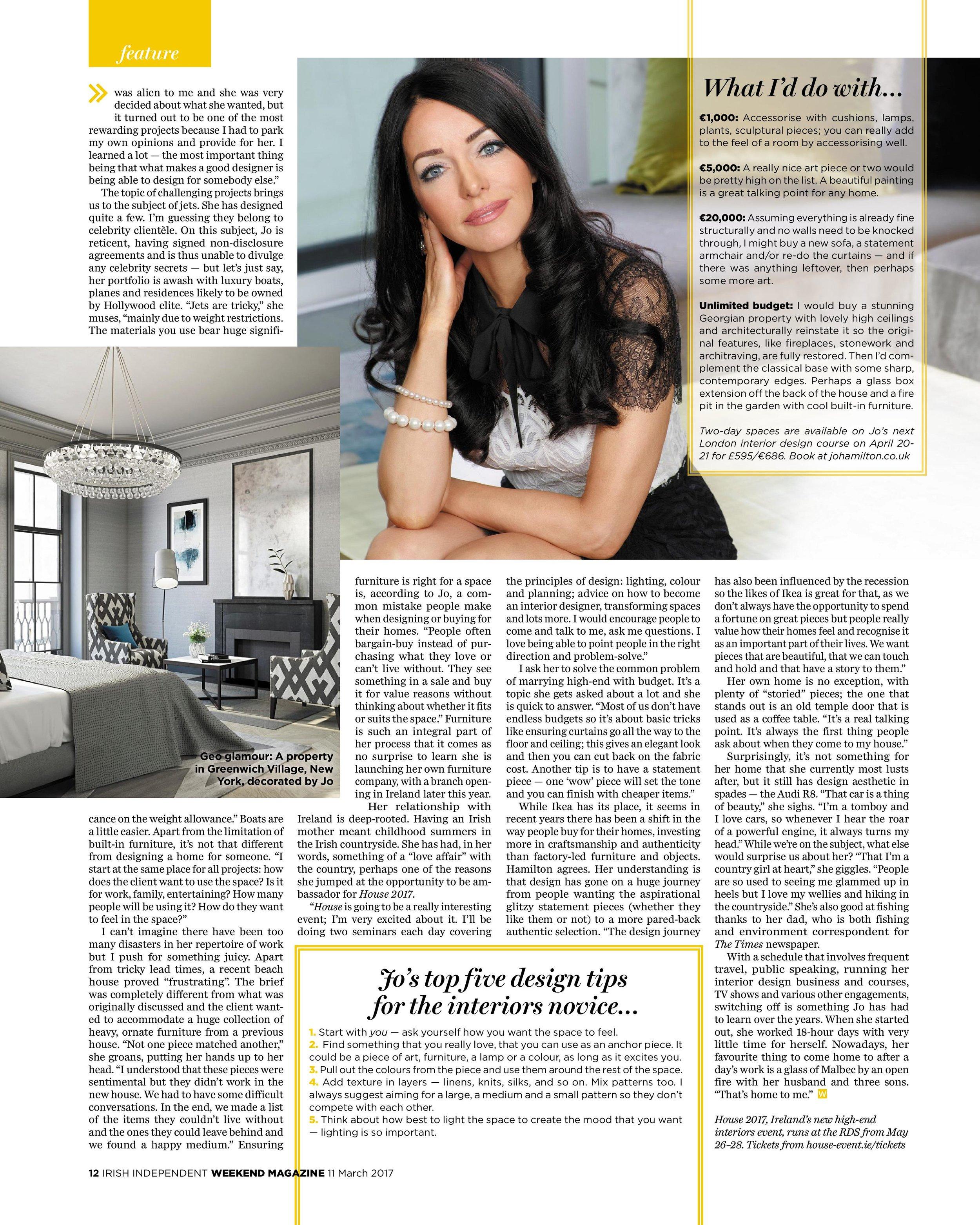 High-end London interior designer Jo Hamilton Irish Independent Weekend page four