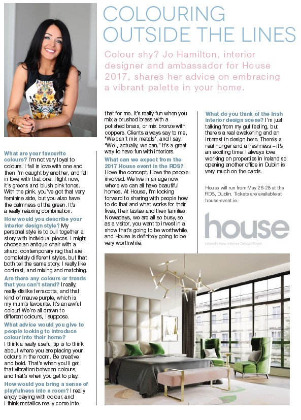 High-interior London interior designer Jo Hamilton interview with Image magazine about colour and luxury interior design