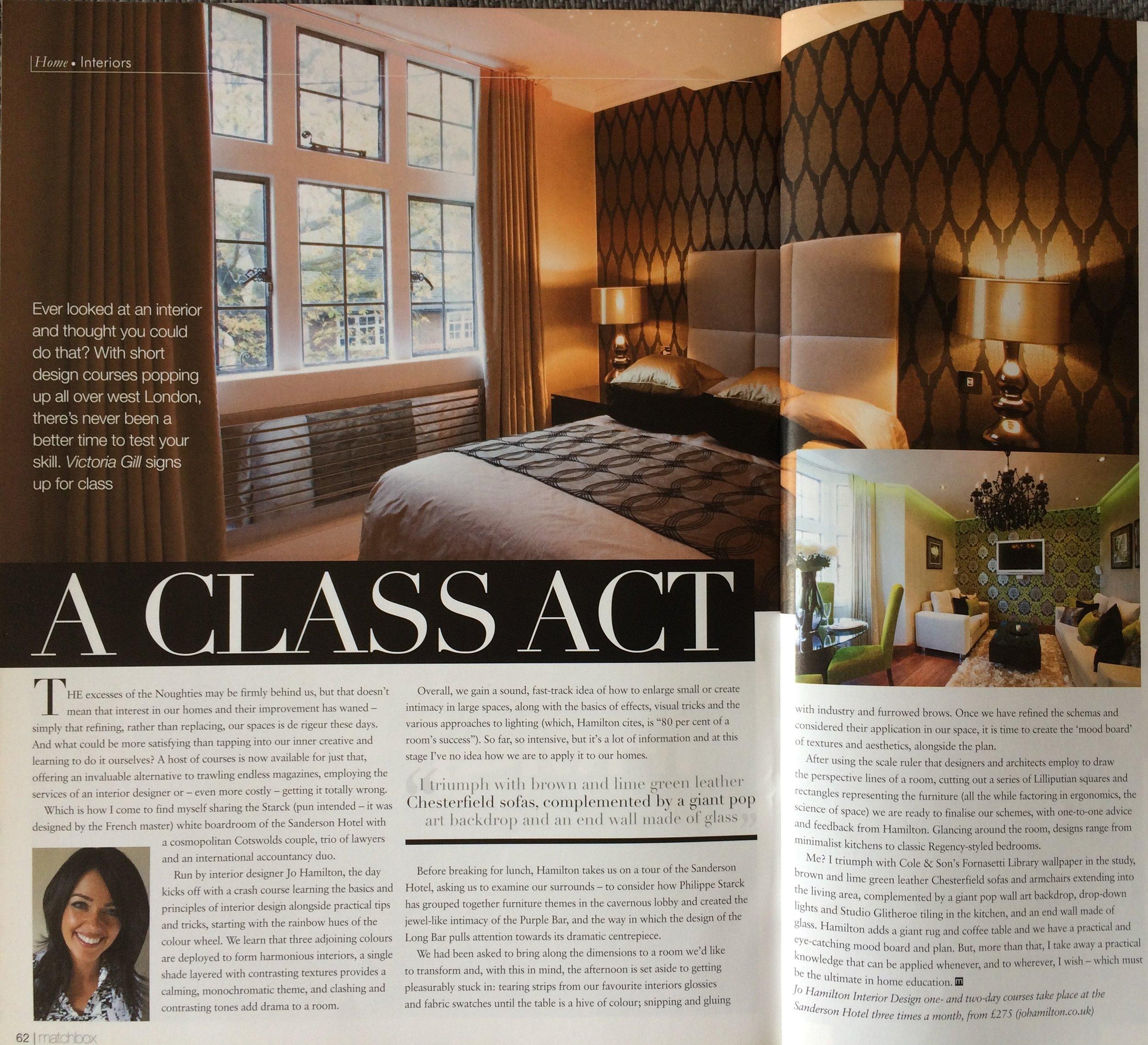 Luxury interior designer Jo Hamilton feature in Matchbox magazine. High-end London interior designer Jo Hamilton interview