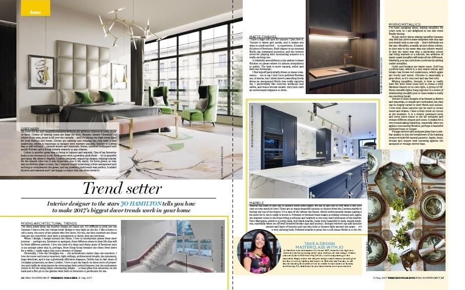 Luxury interior designer Jo Hamilton in Irish Independent Weekend magazine May 132017