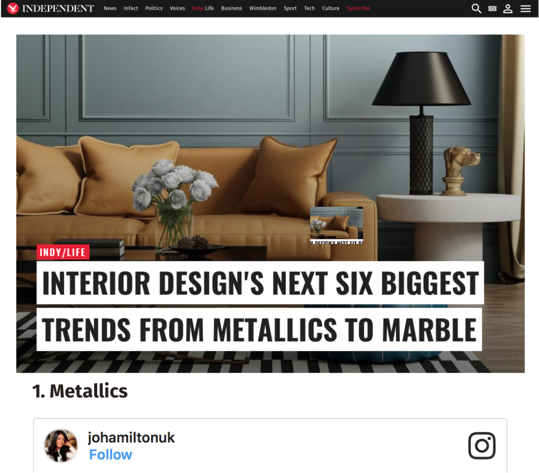 High-end interior designer Jo Hamilton in The Independent